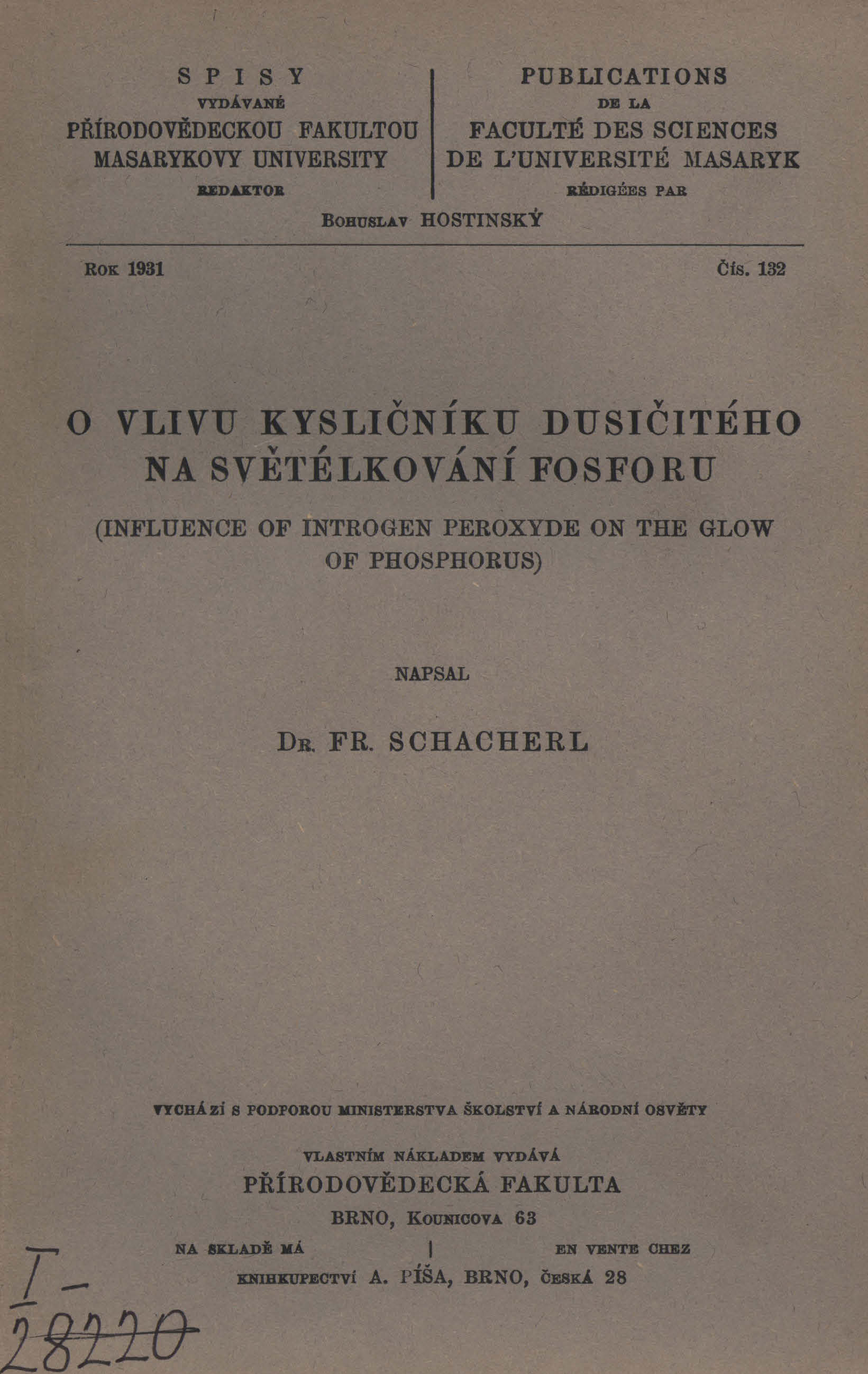 Obálka pro O vlivu kysličníku dusičitého na světélkování fosforu