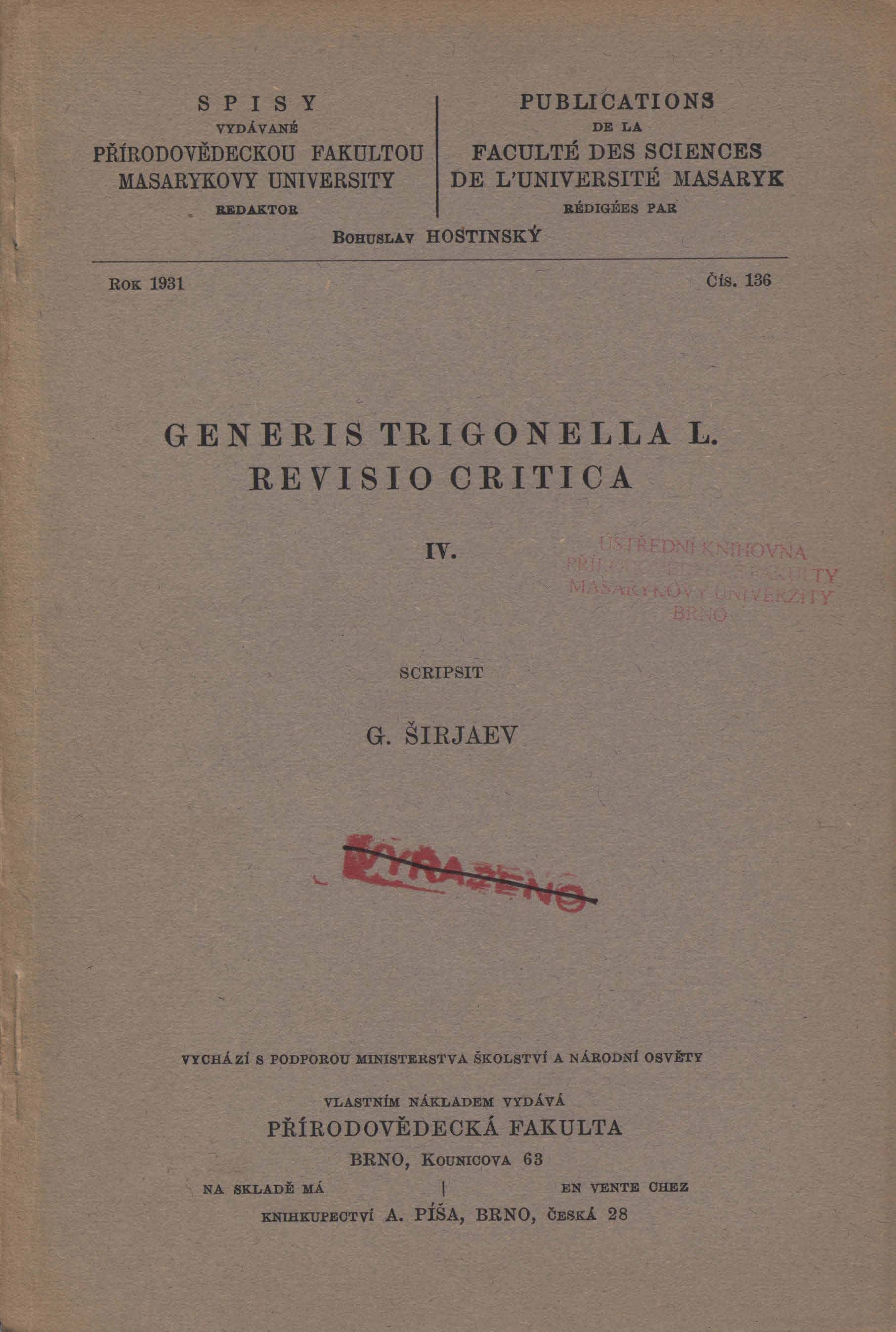 Obálka pro Generis Trigonella L. revisio critica. IV.