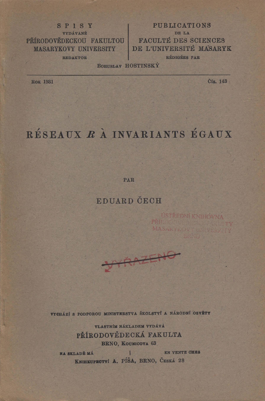 Obálka pro Réseaux R a invariants égaux