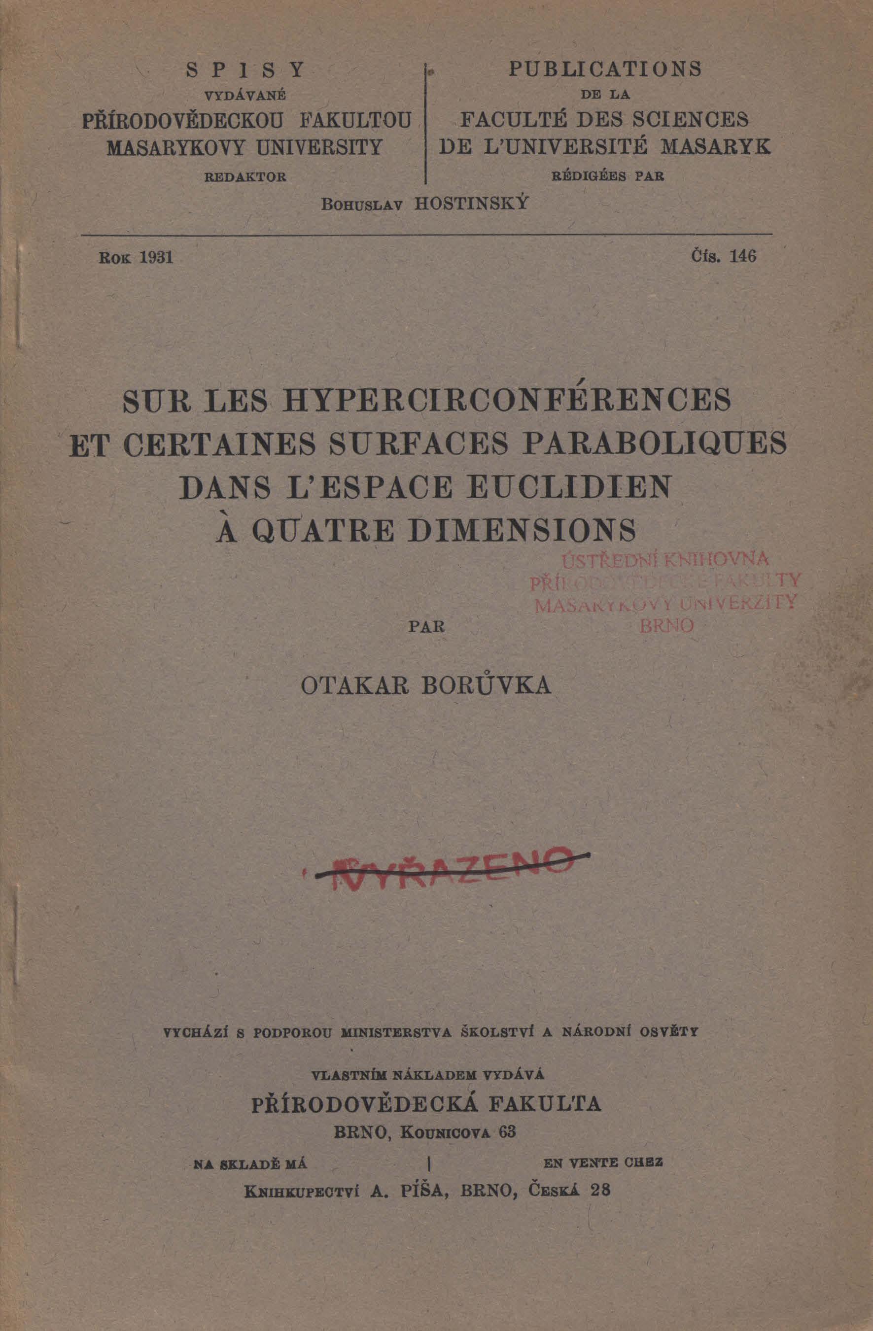 Obálka pro Sur les hypercirconférences et certaines surfaces paraboliques dans l'espace euclidien à quatre dimensions