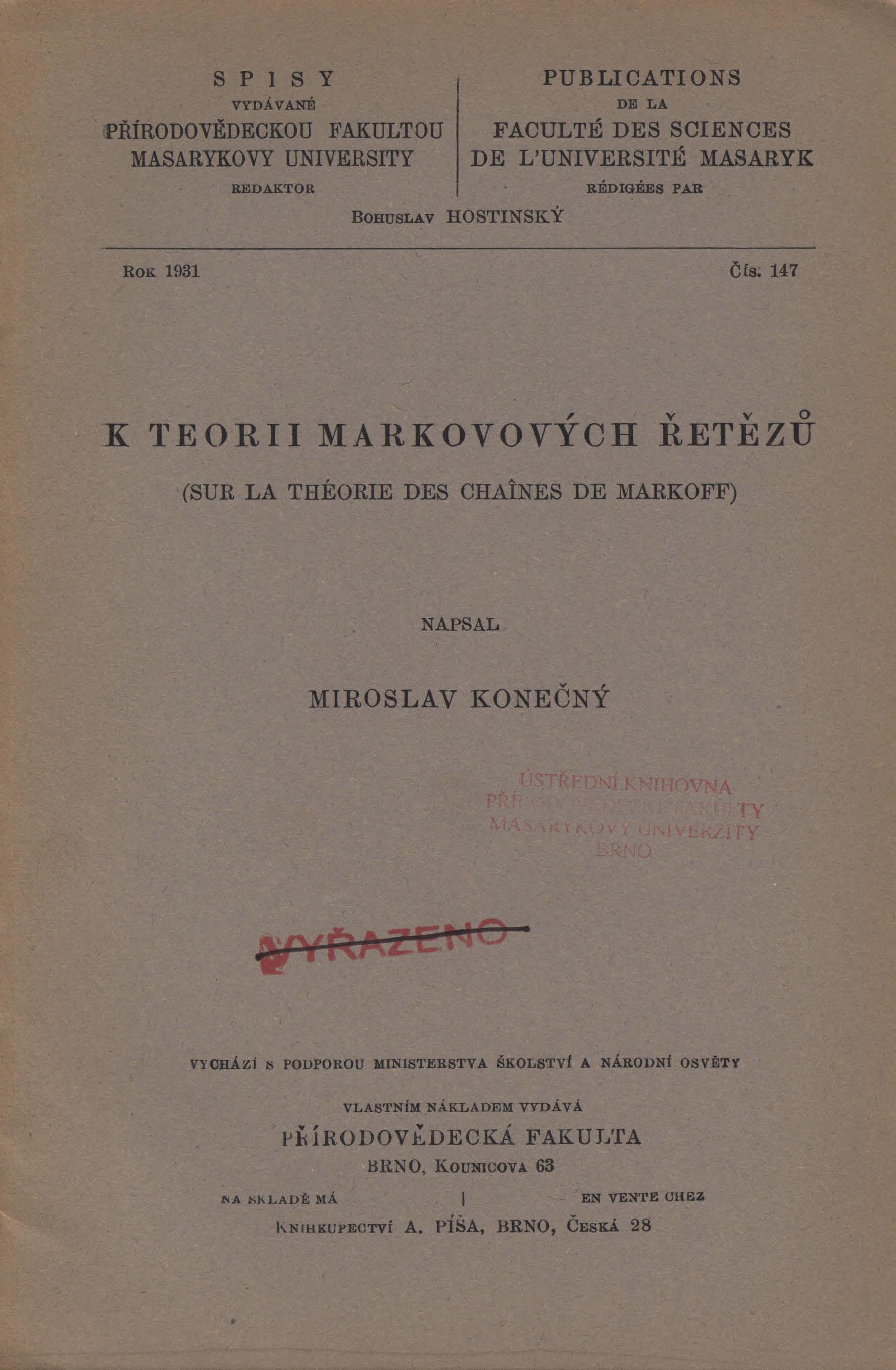 Obálka pro K teorii Markovových řetězů