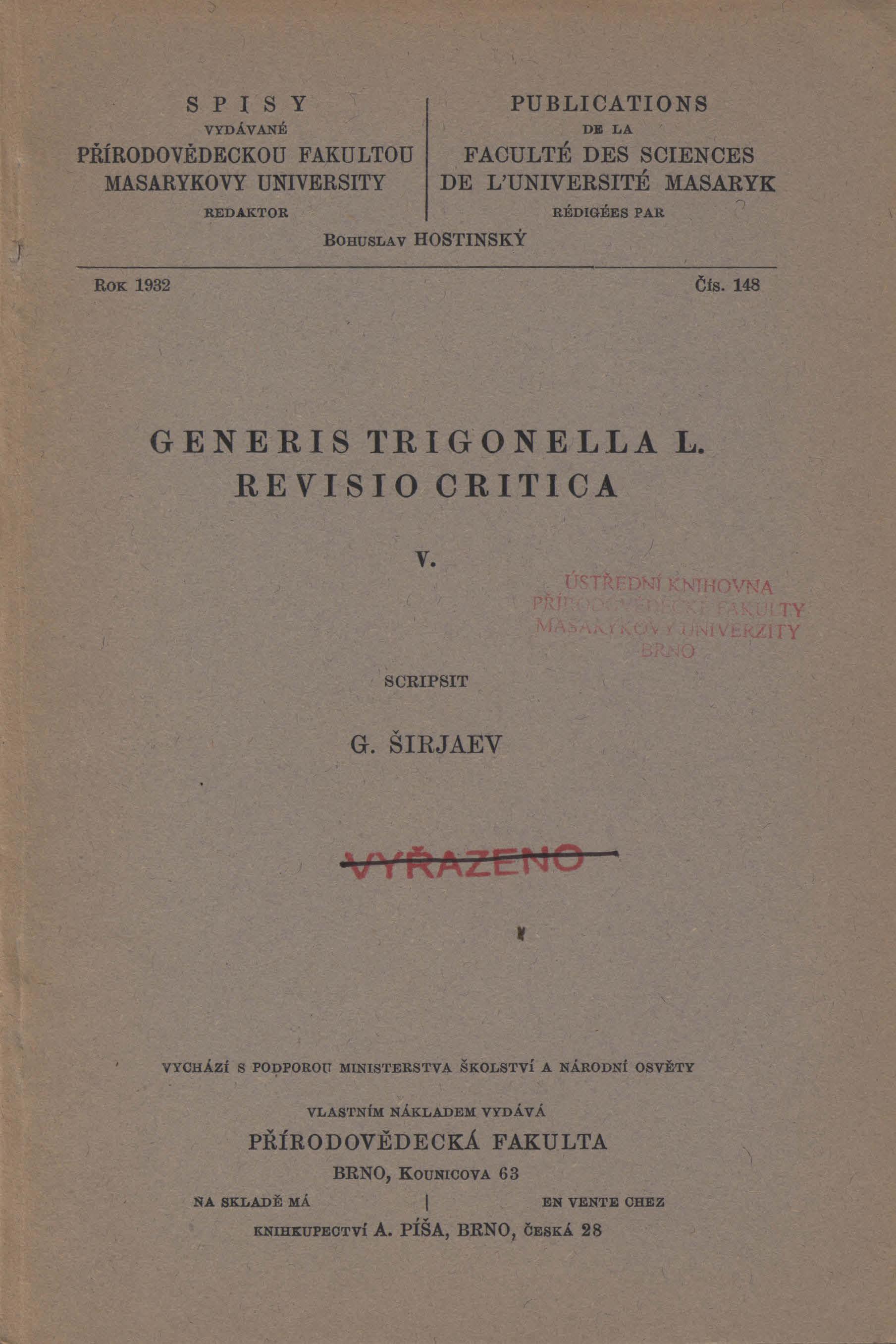 Obálka pro Generis Trigonella L. revisio critica. V.