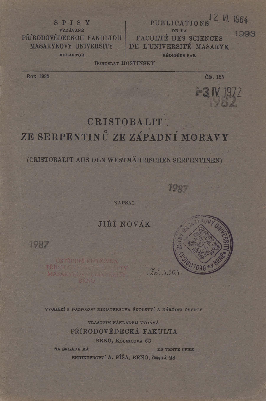 Obálka pro Cristobalit ze serpentinů ze západní Moravy