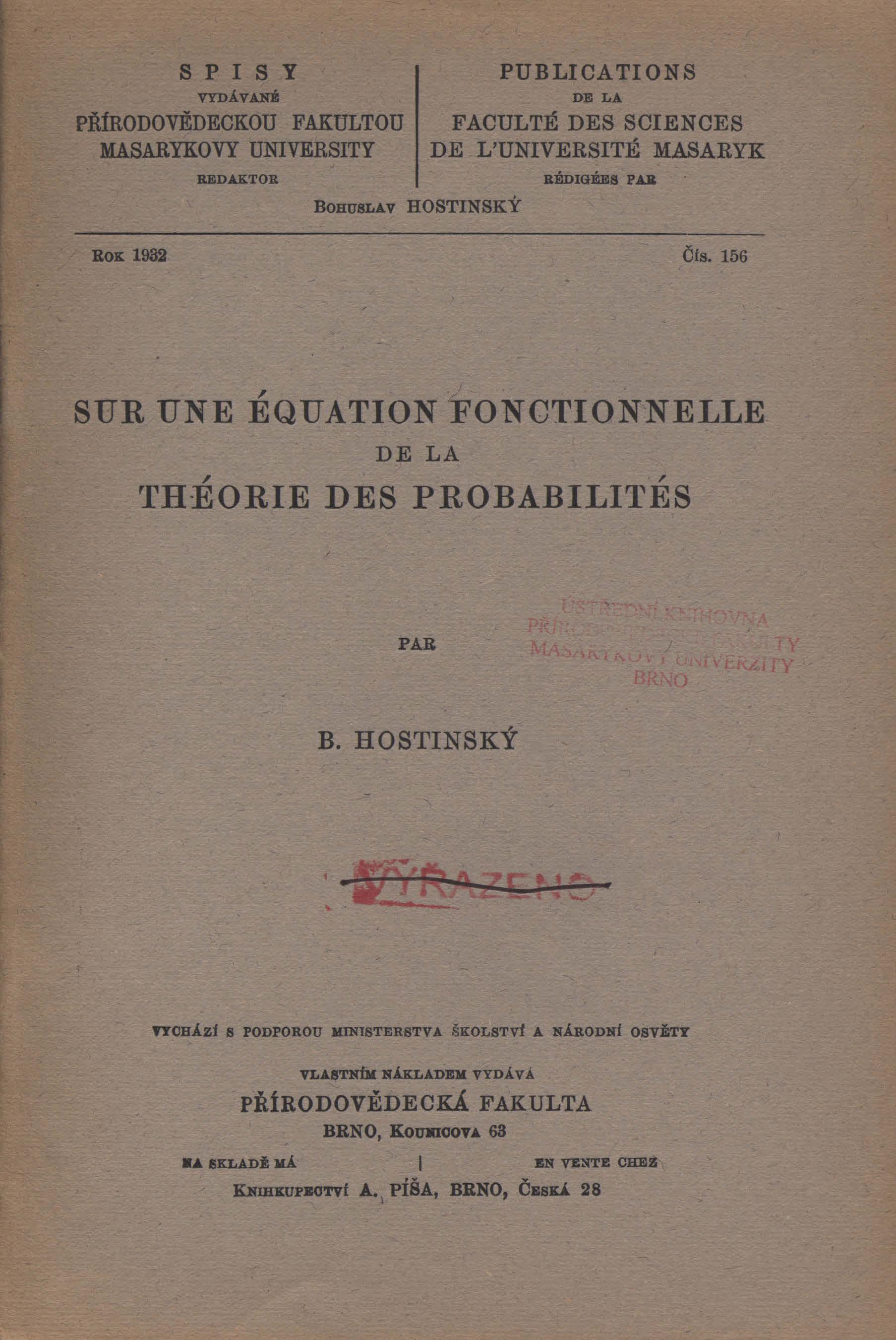 Obálka pro Sur une équation fonctionnelle de la théorie des probabilités
