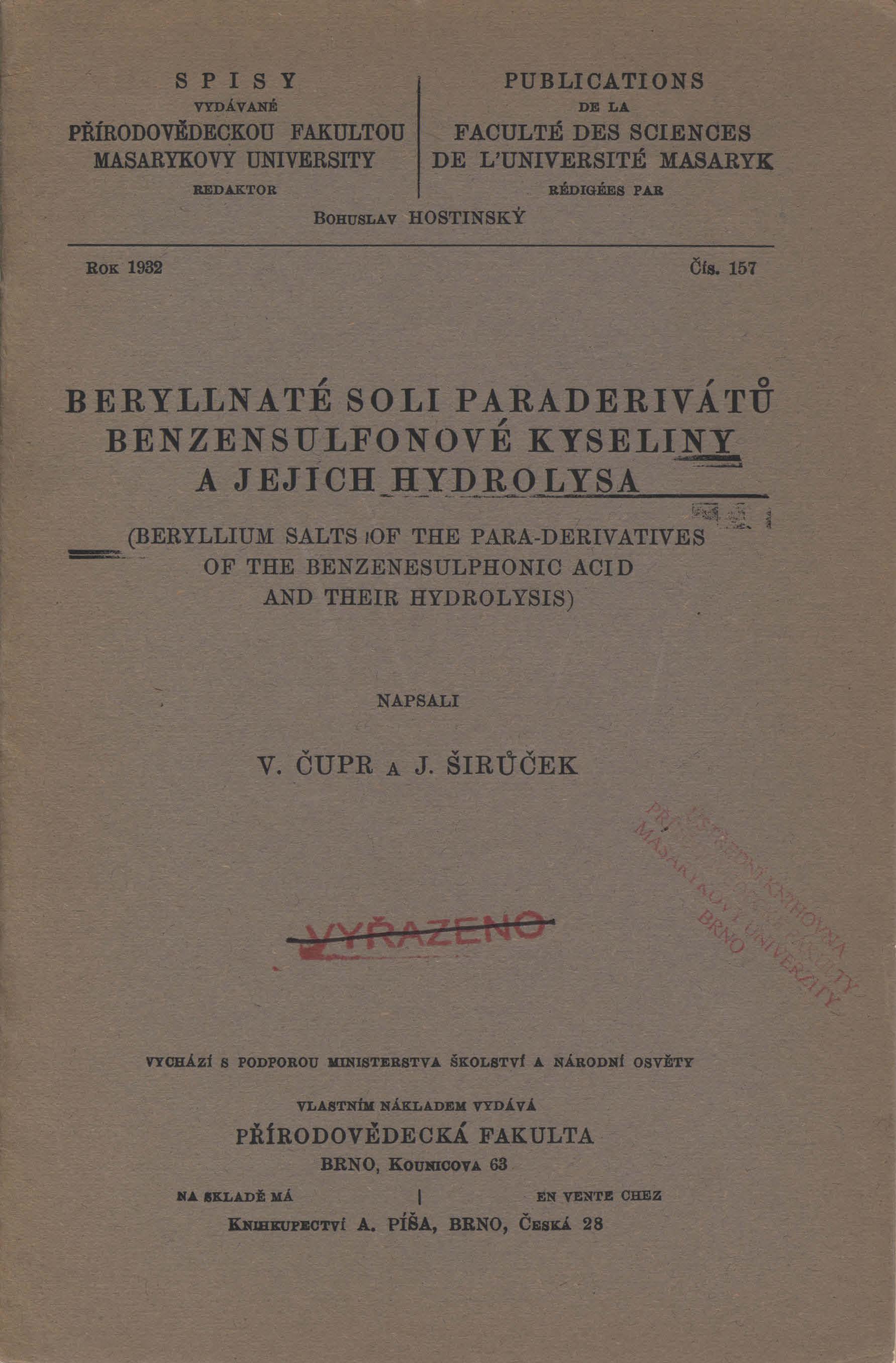 Obálka pro Beryllnaté soli paraderivátů benzensulfonové kyseliny a jejich hydrolysa