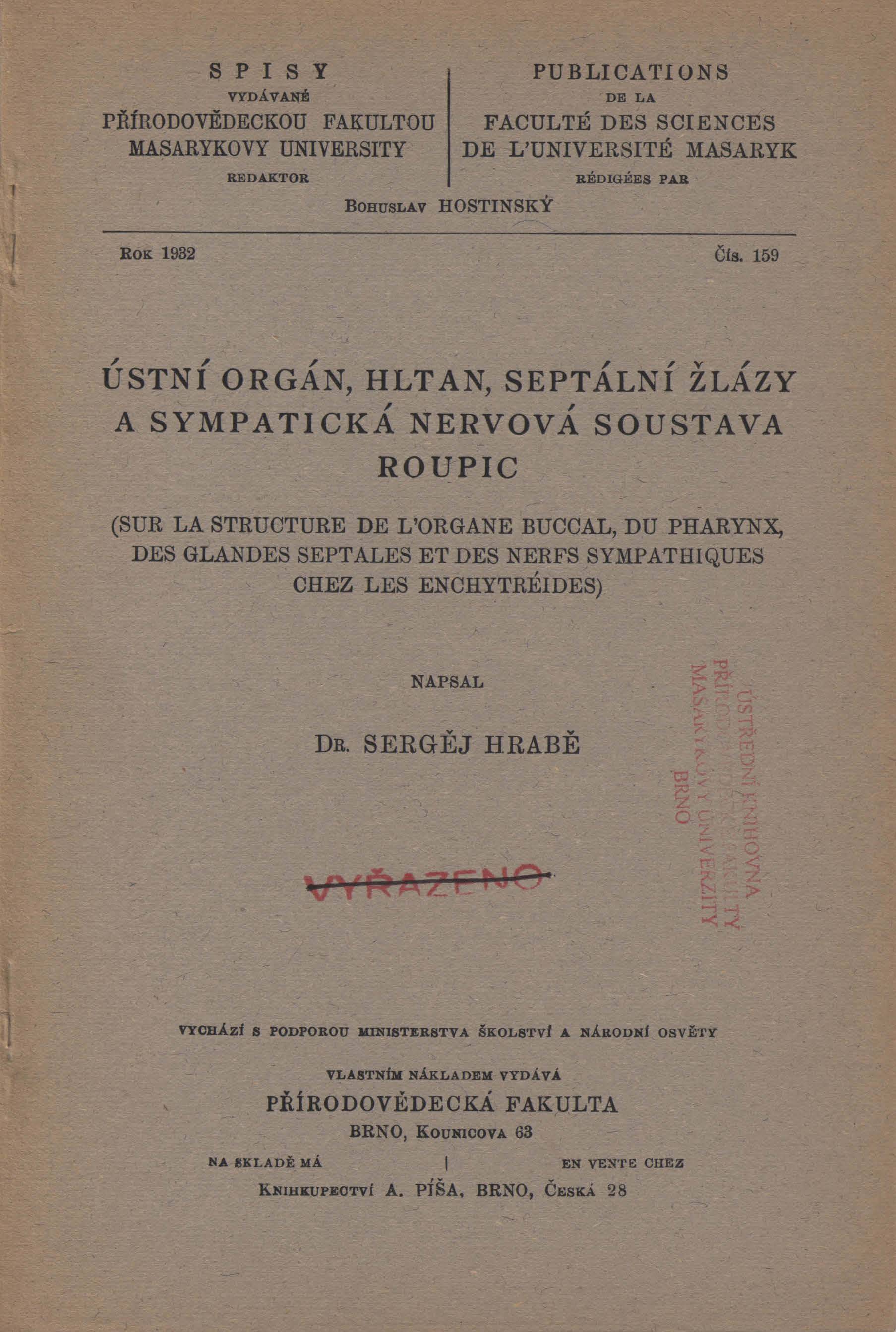 Obálka pro Ústní orgán, hltan, septální žlázy a sympatická nervová soustava roupic