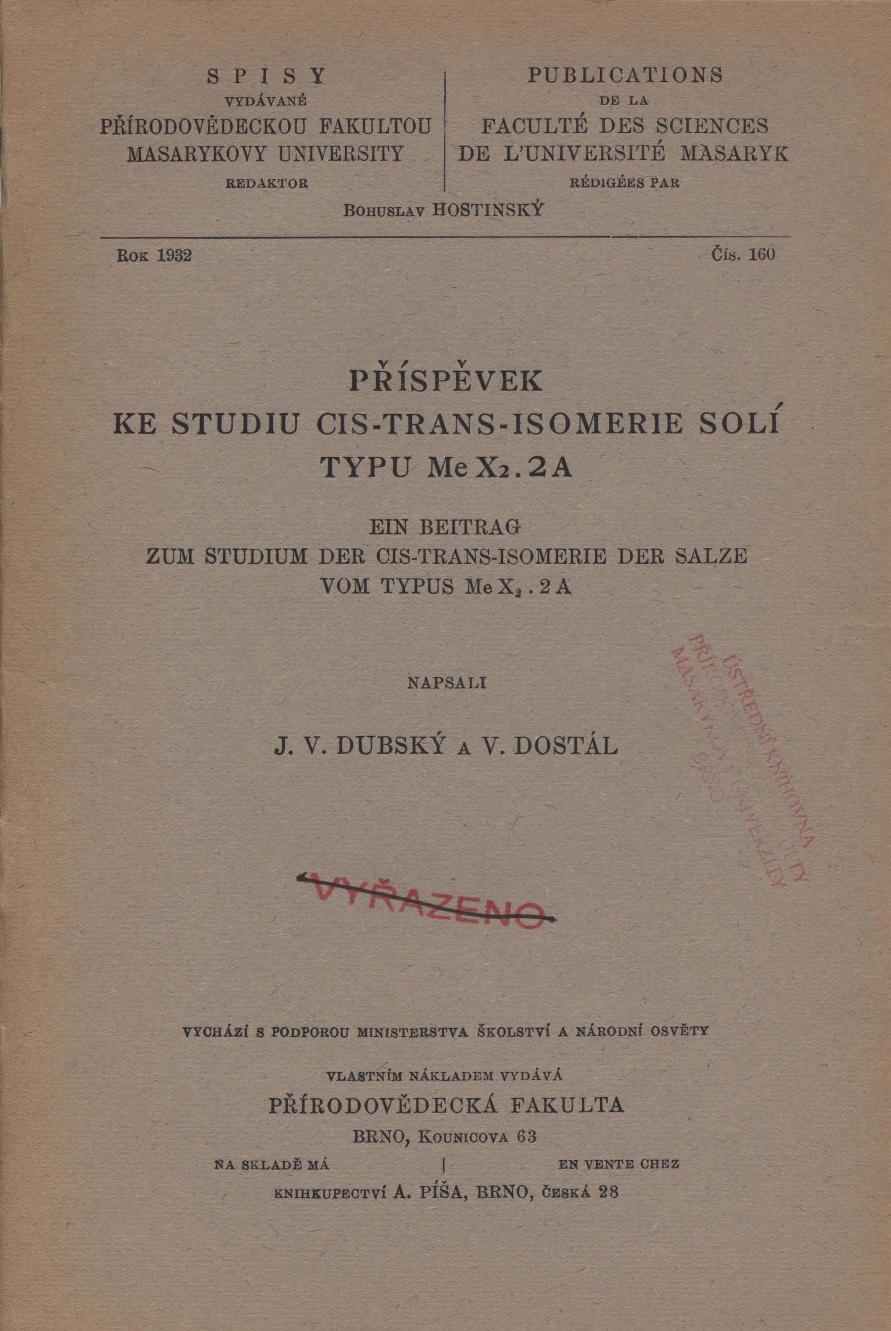 Obálka pro Příspěvek ke studiu cis-trans-isomeric solí typu Me X2.2A