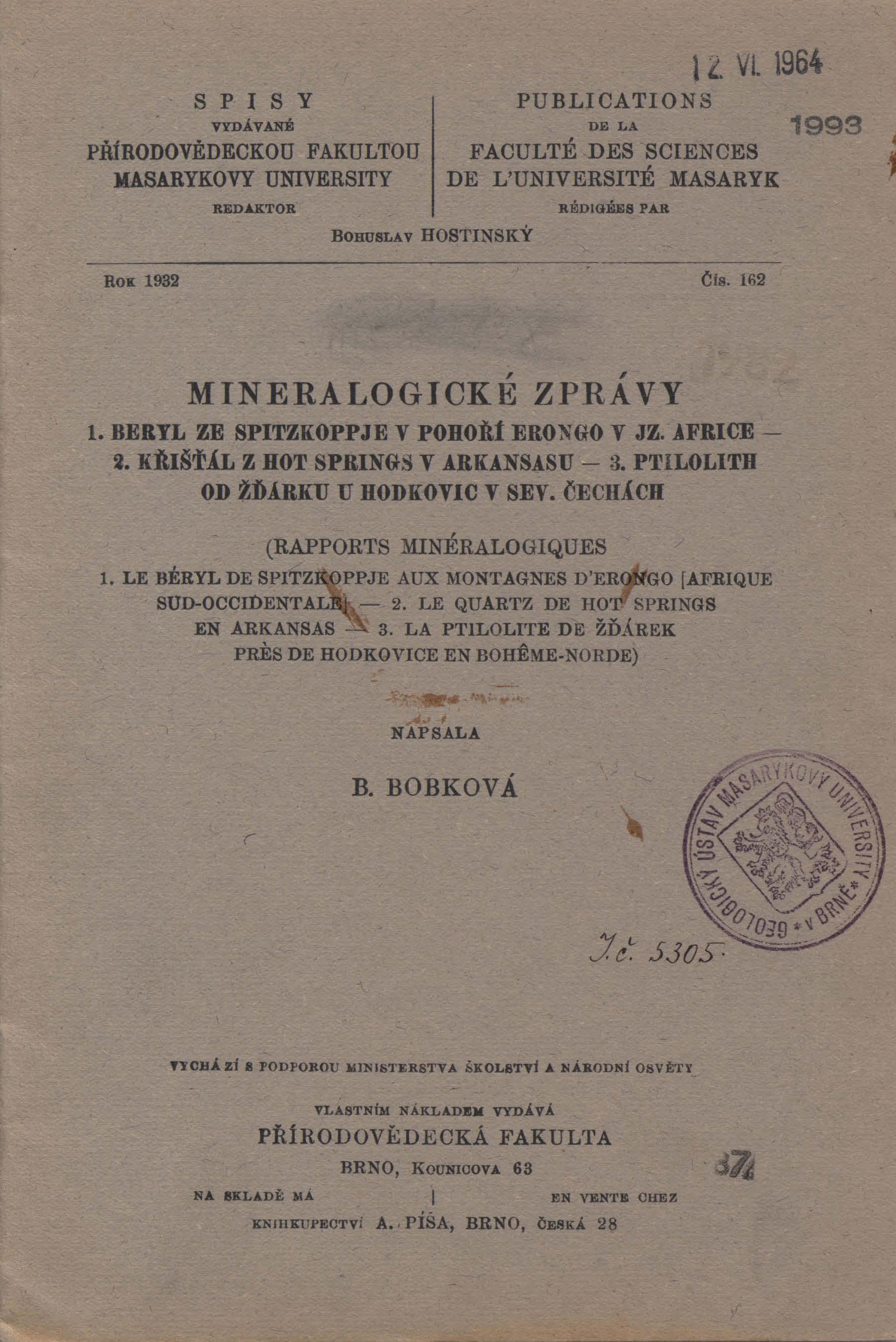 Obálka pro Mineralogické zprávy. 1, Beryl ze Spitzkoppje v pohoří Erongo v jz. Africe. 2, Křišťál z Hot Springs v Arkansasu. 3, Ptilolith od Žďárku u Hodkovic v sev. Čechách