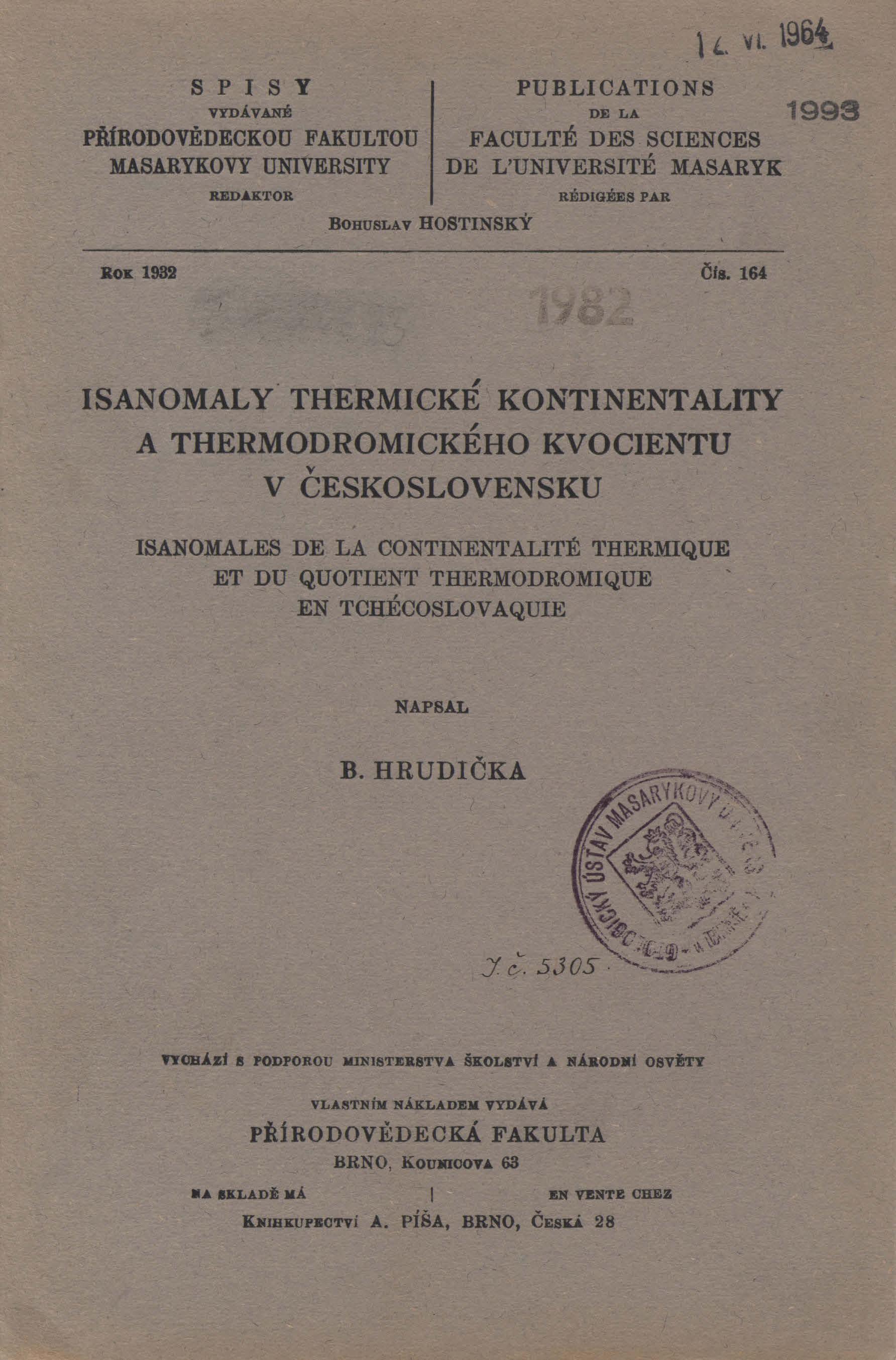 Obálka pro Isanomaly thermické kontinentality a thermodromického kvocientu v Československu