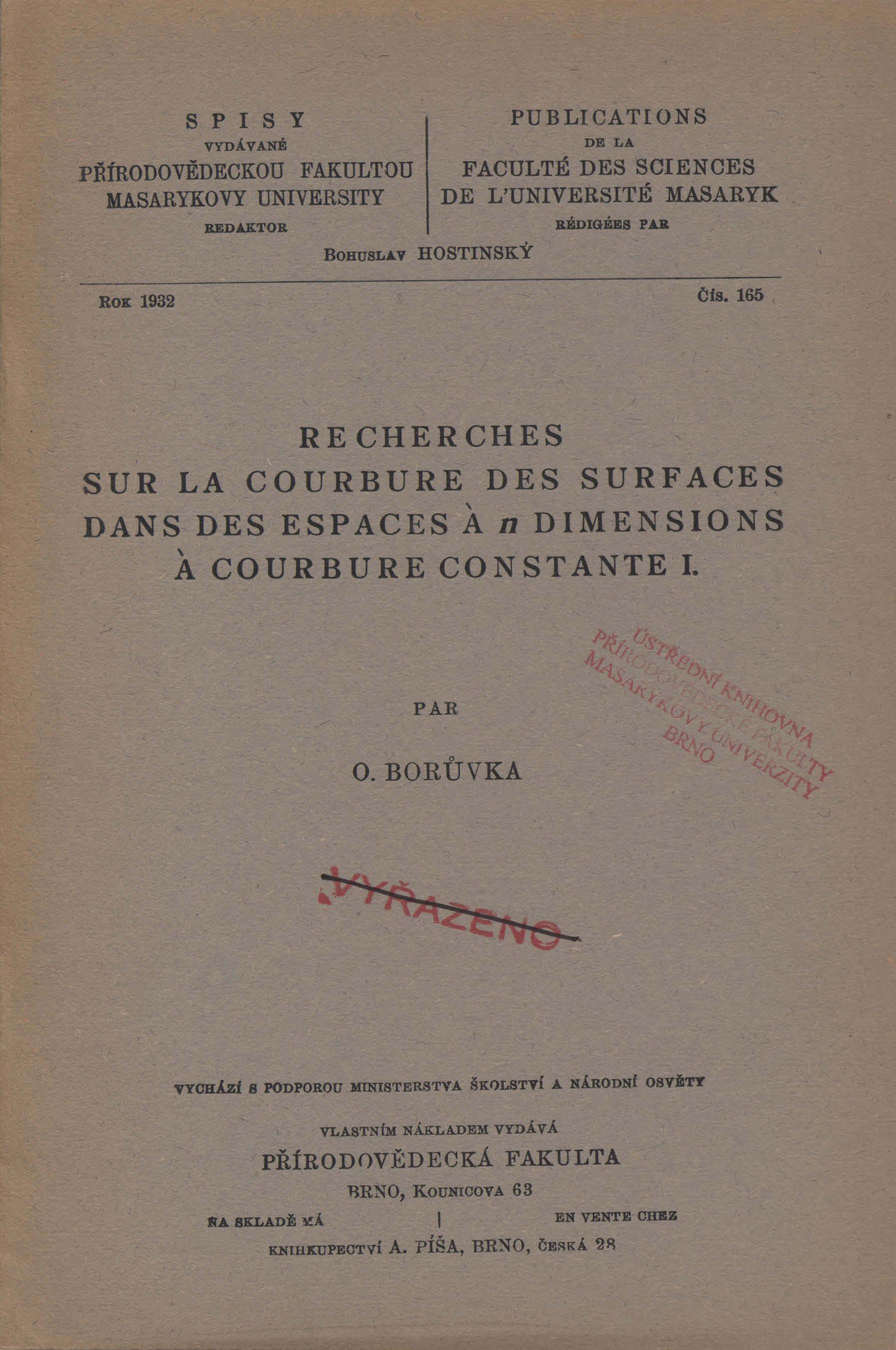 Obálka pro Recherches sur la courbure des surfaces dans des espaces à n dimensions à courbure constante. I