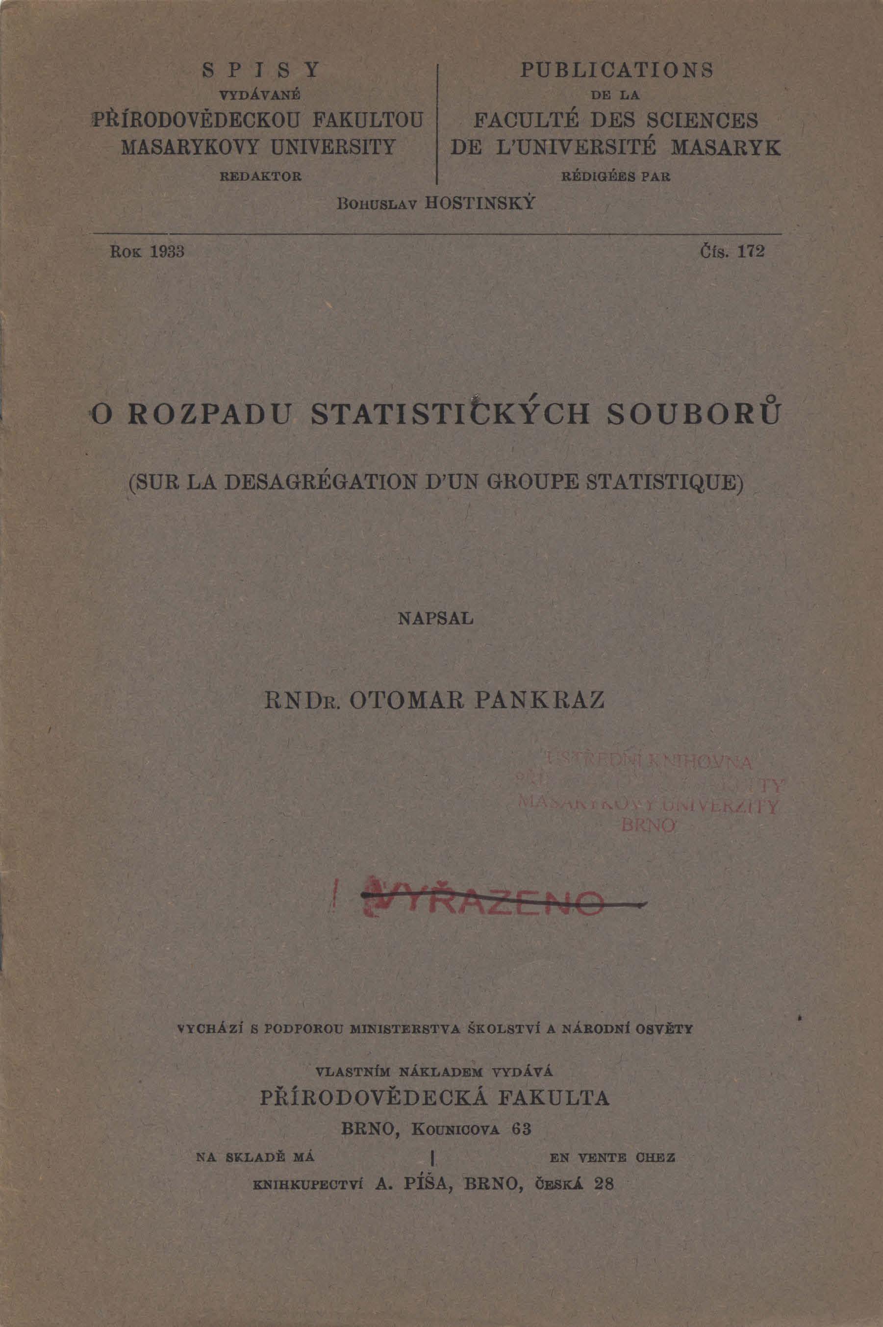 Obálka pro O rozpadu statistických souborů