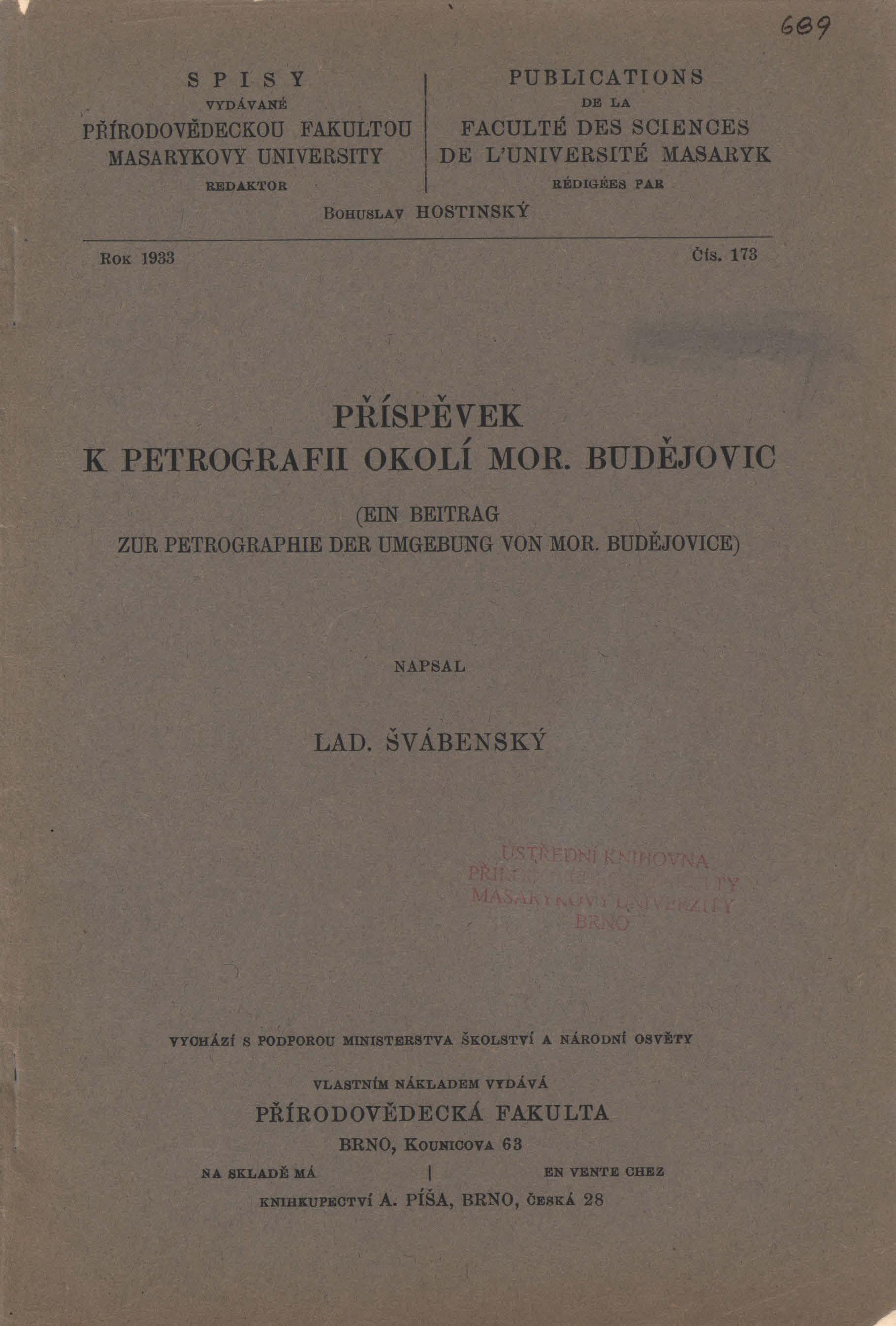 Obálka pro Příspěvek k petrografii okolí Mor. Budějovic