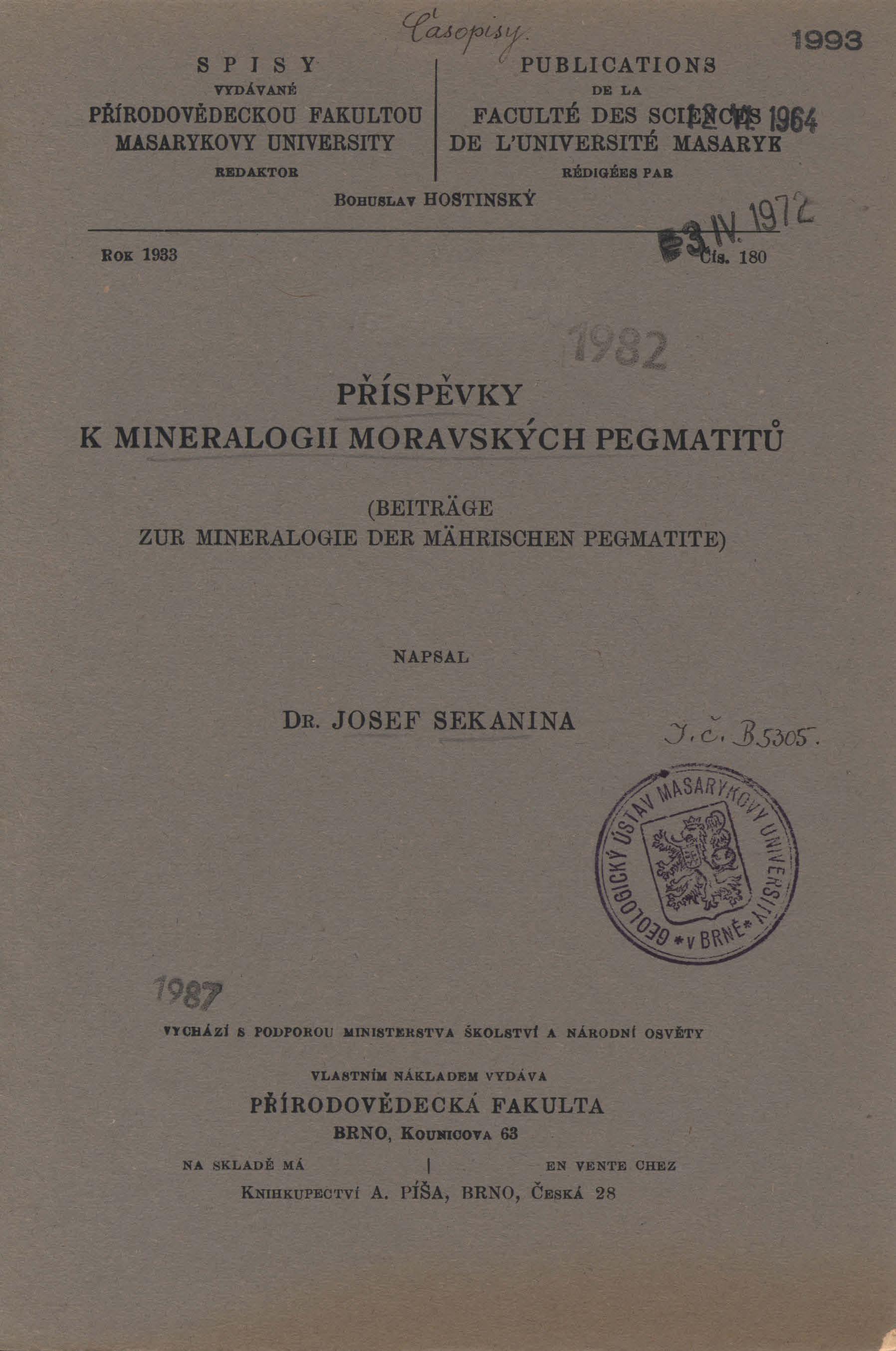 Obálka pro Příspěvky k mineralogii moravských pegmatitů
