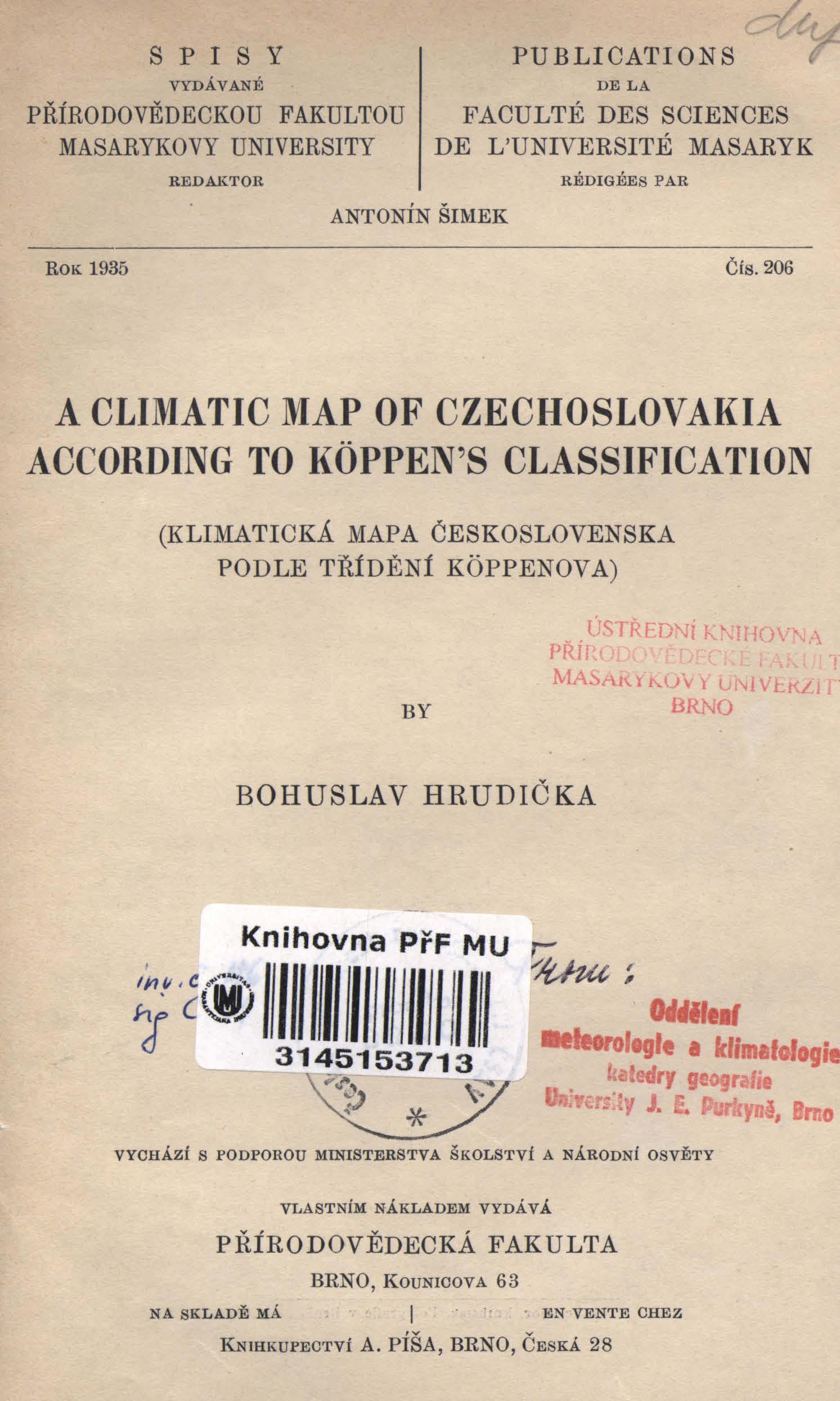 Obálka pro A climatic map of Czechoslovakie according to Köppen's classification