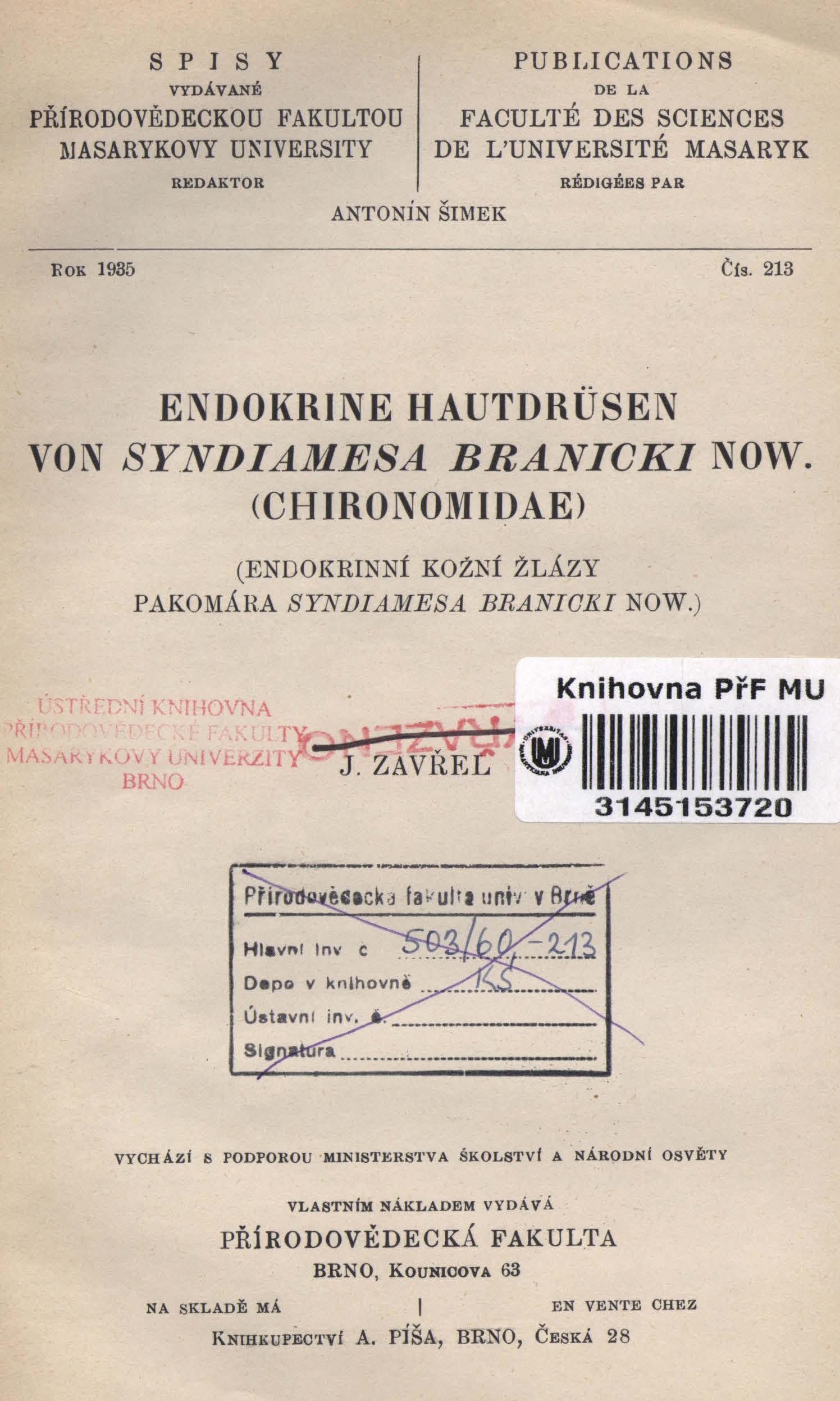 Obálka pro Endokrine Hautdrüsen von Syndiamesa Branicki Now