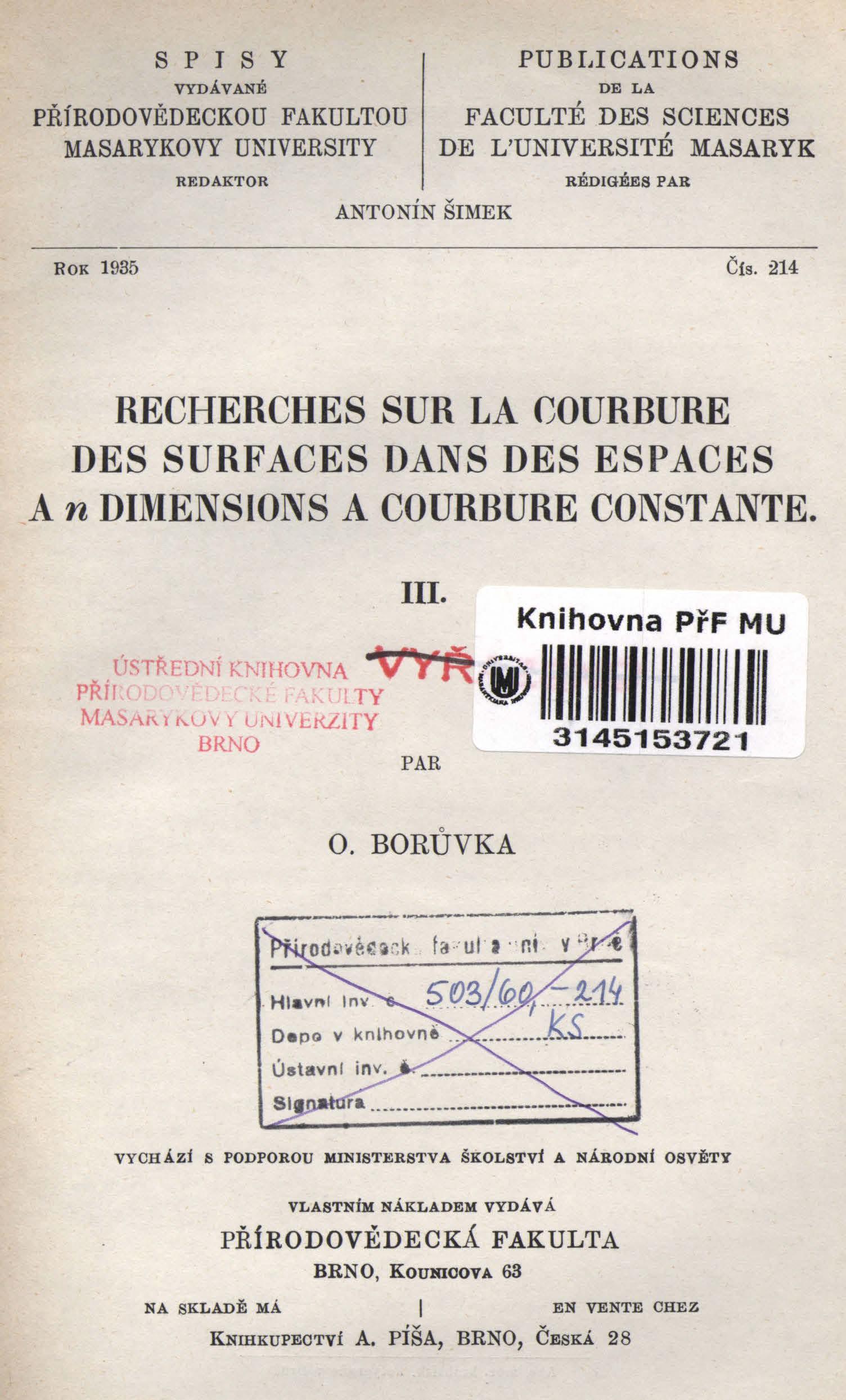 Obálka pro Recherches sur la courbure des surfaces dans des espaces a n dimensions a courbure constante. III.