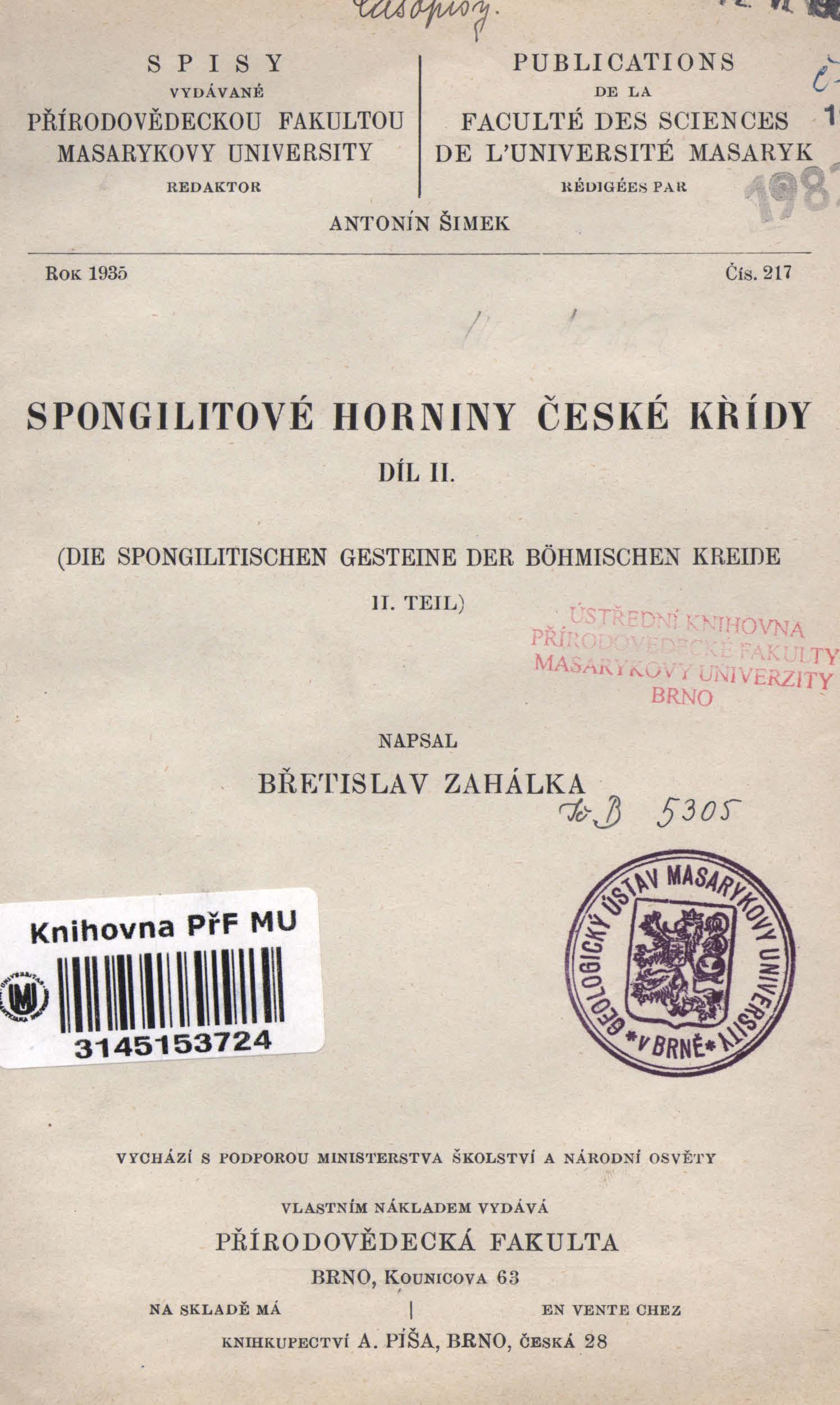 Obálka pro Spongilitové horniny české křídy. Díl II.