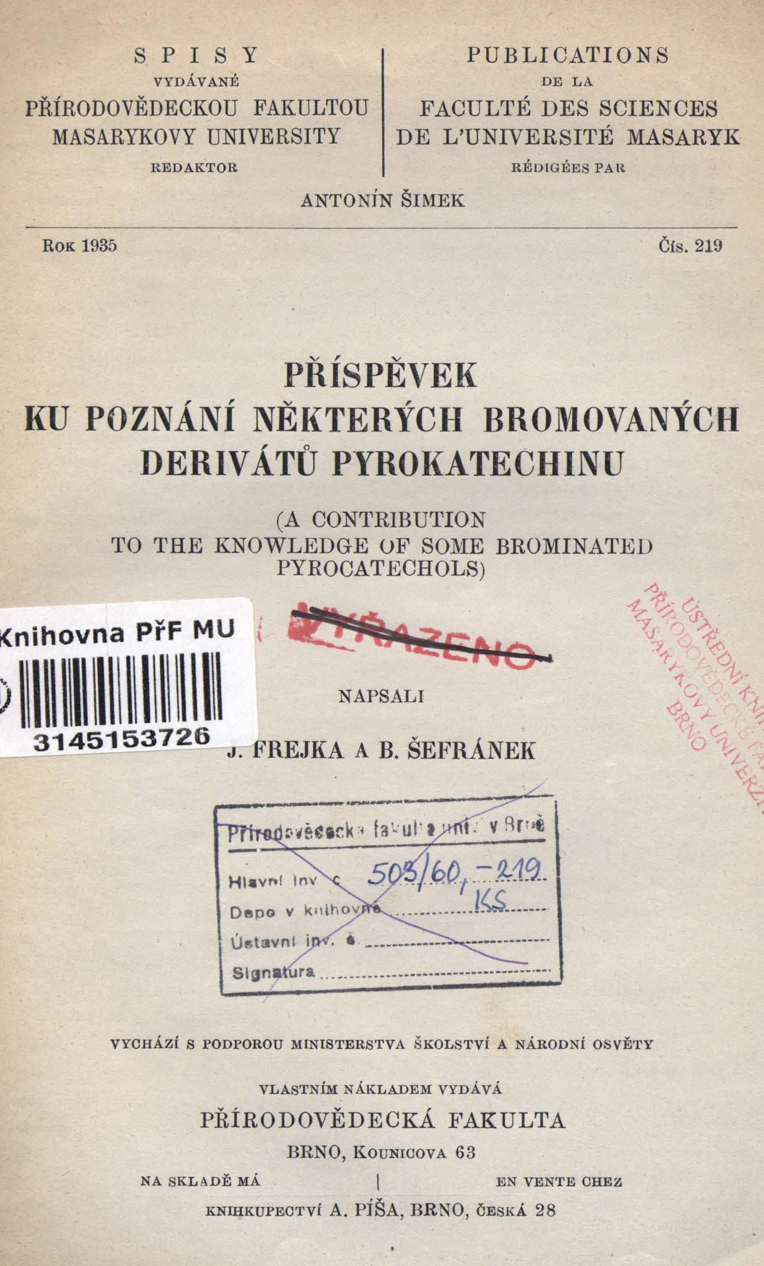Obálka pro Příspěvek ku poznání některých bromovaných derivátů pyrokatechinu