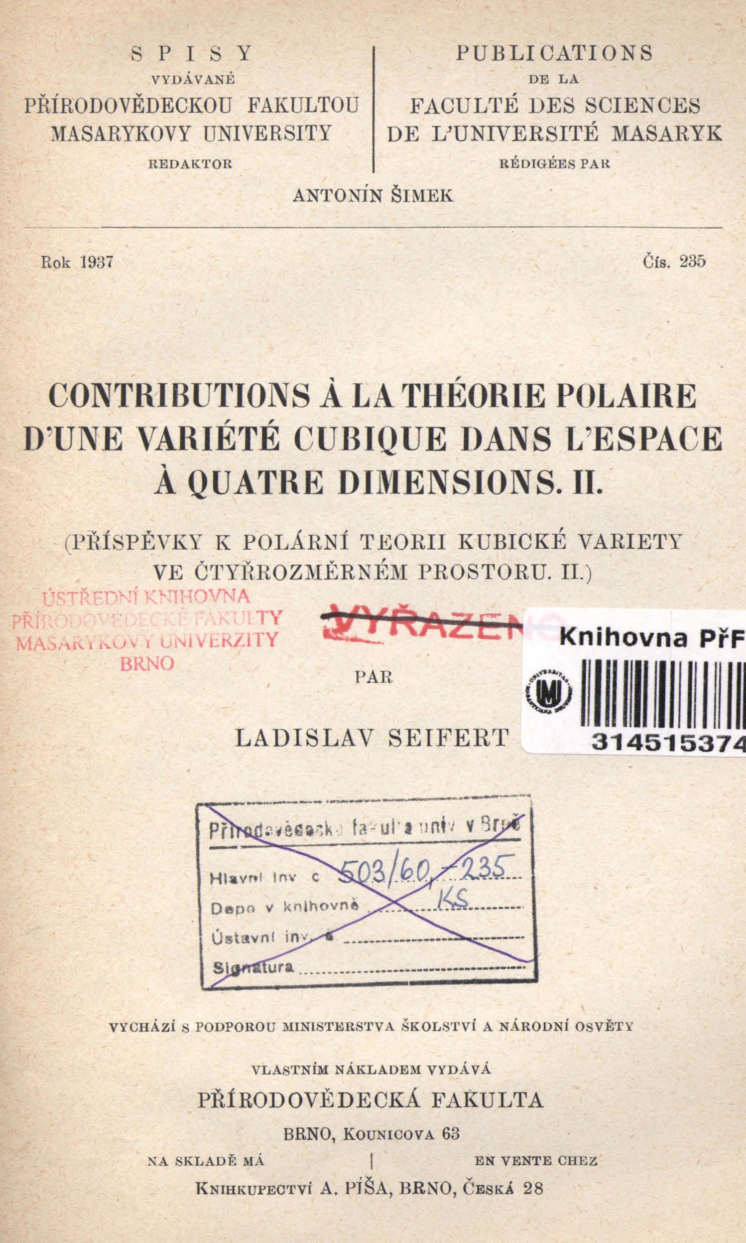 Obálka pro Contributions a la théorie polaire d'une variété cubique dans l'espace a quatre dimensions. II.