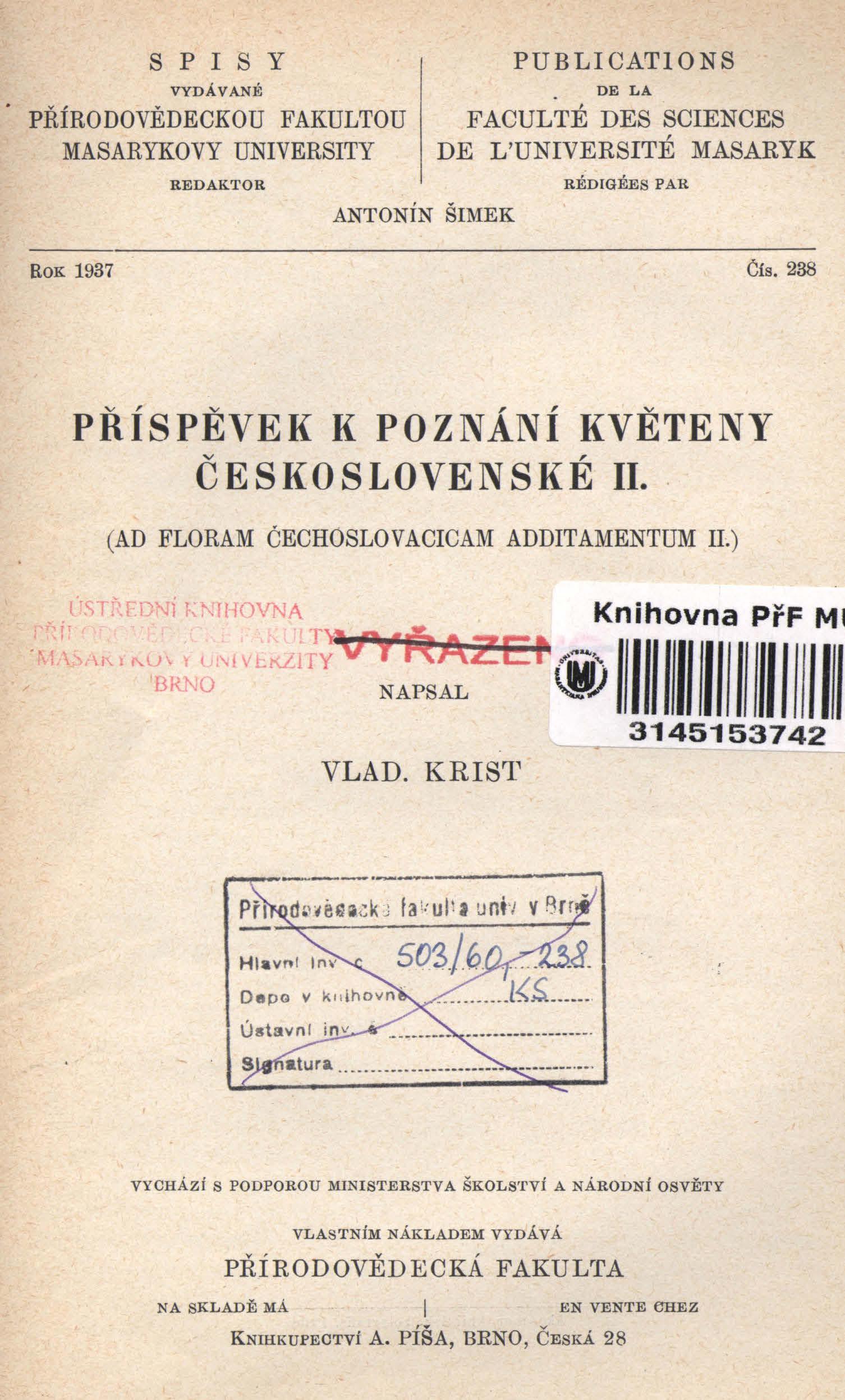 Obálka pro Příspěvek k poznání květeny Československé II.