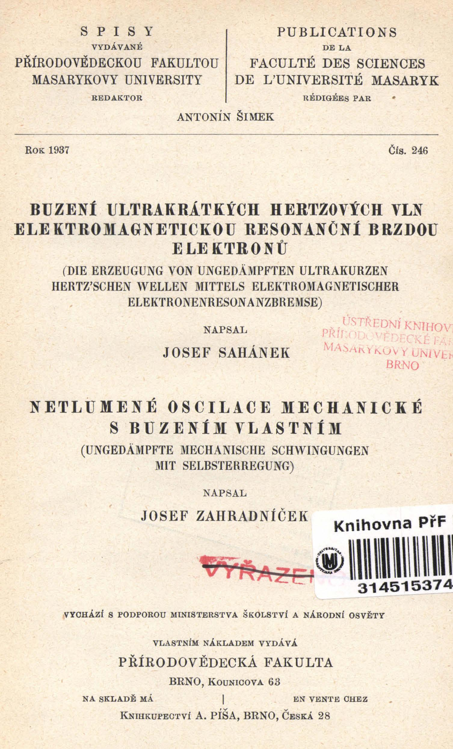 Obálka pro Buzení ultrakrátkých hertzových vln elektromagnetickou resonanční brzdou elektronů