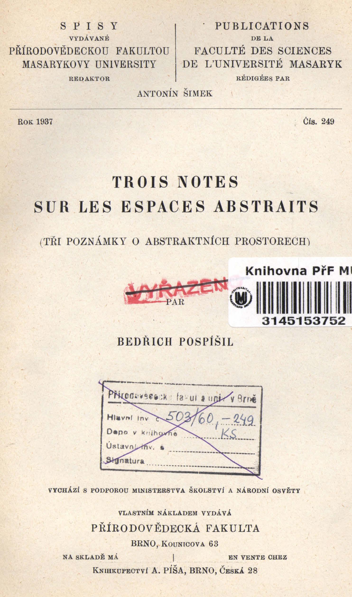 Obálka pro Trois notes sur les espaces abstraits