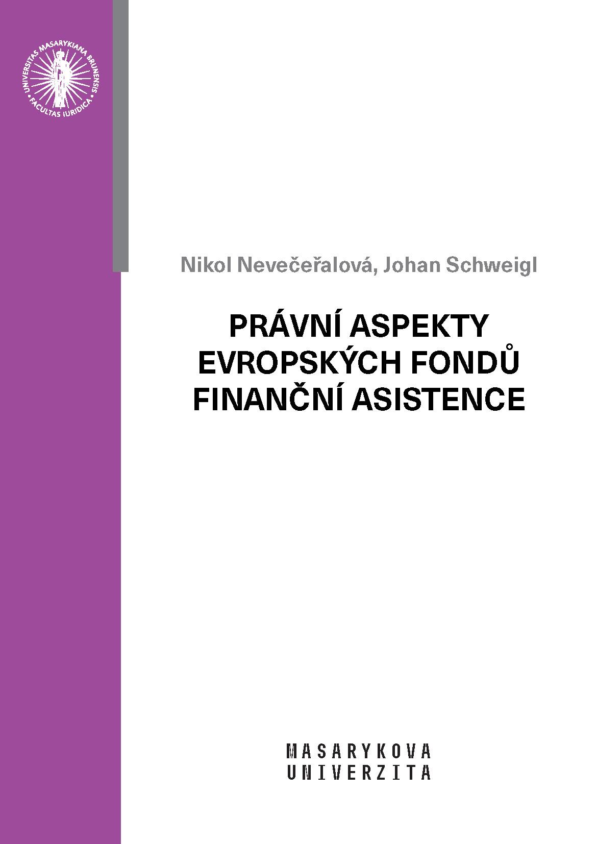 Obálka pro Právní aspekty evropských fondů finanční asistence