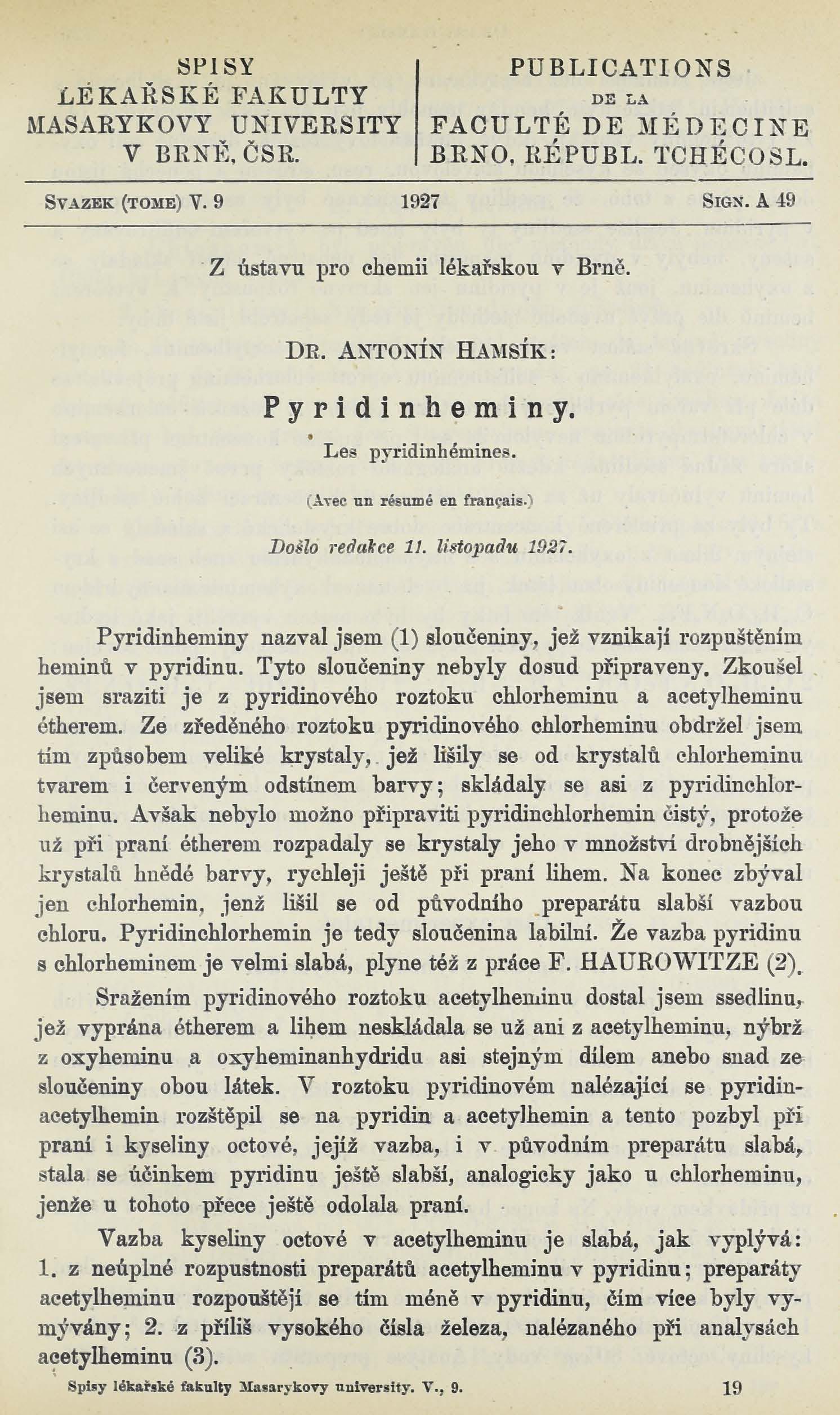 Obálka pro Pyridinheminy / Les pyridinhémines