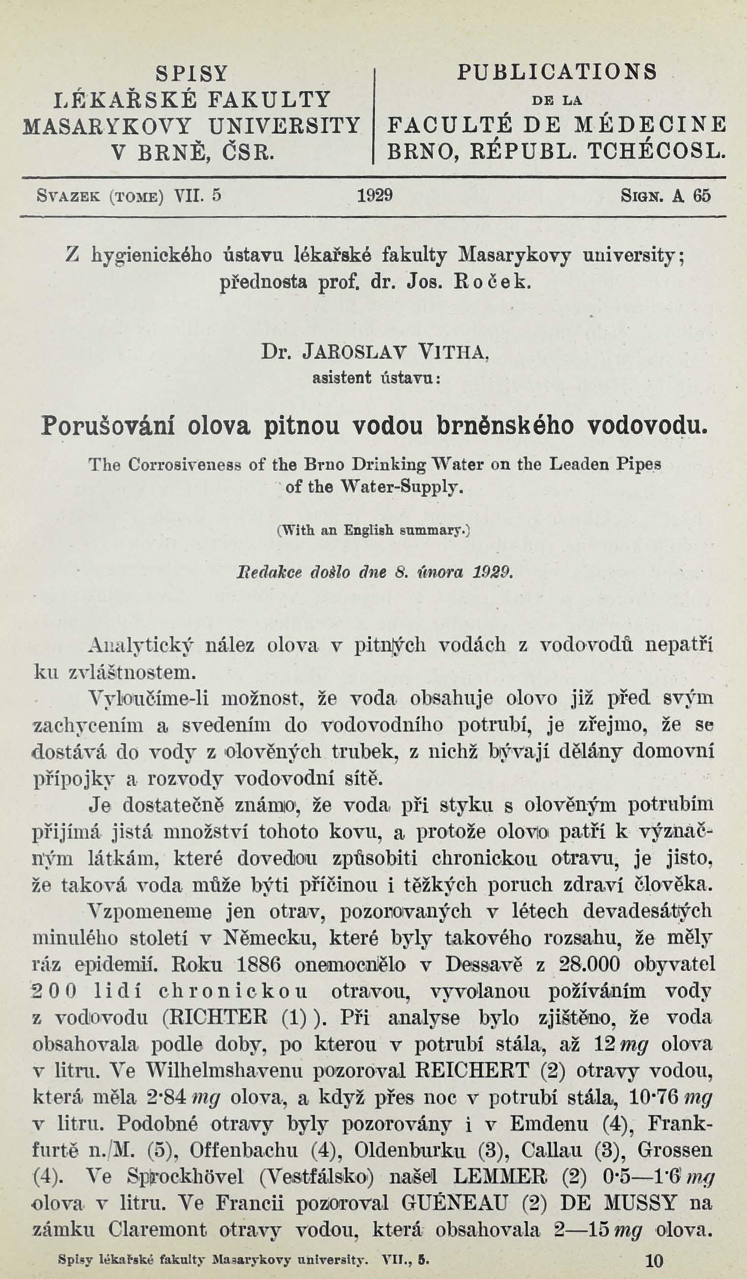 Obálka pro Porušování olova pitnou vodou brněnského vodovodu / The corrosiveness of the Brno drinking water on the leaden pipes of the water-supply