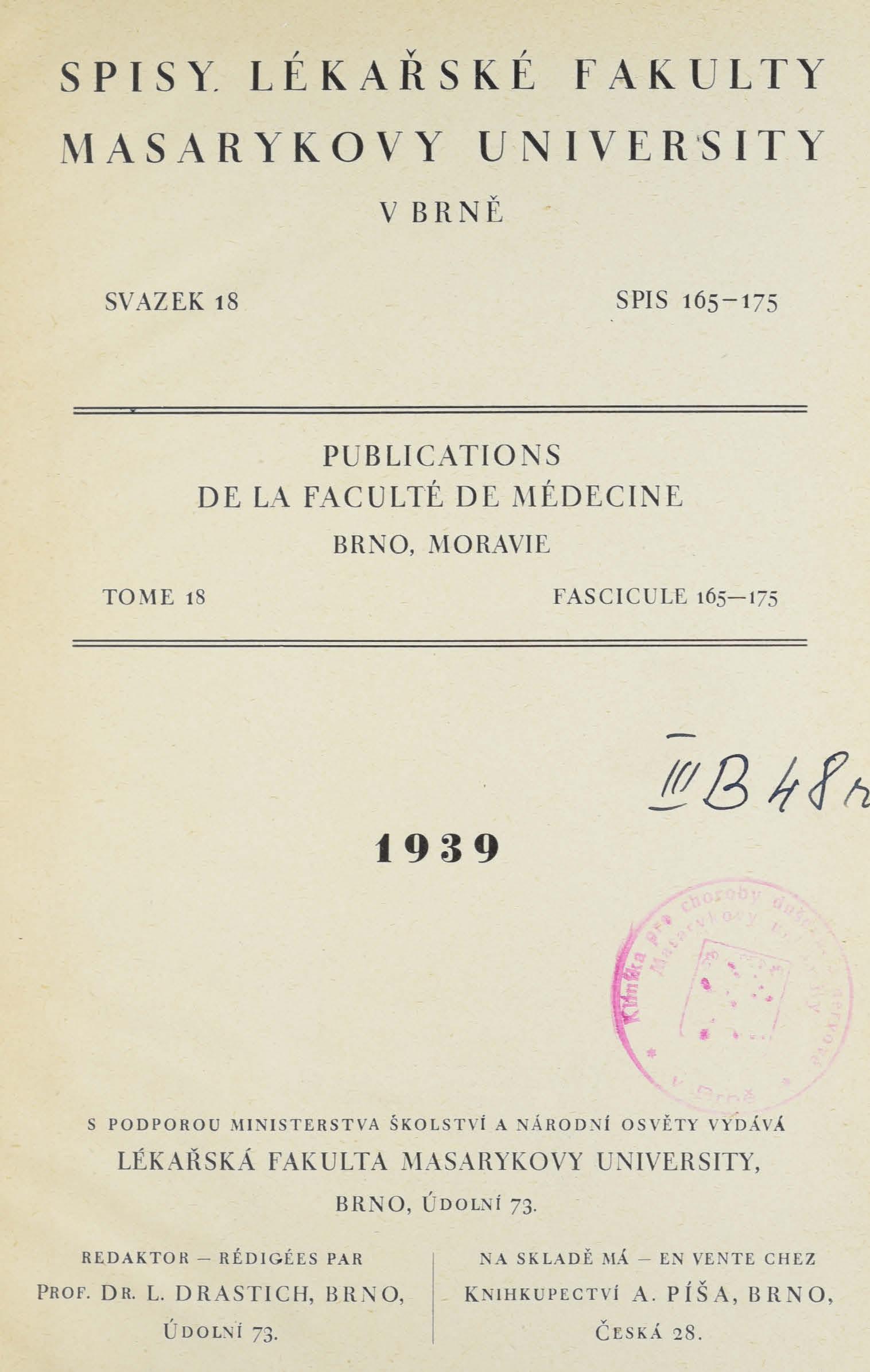 Obálka pro Spisy Lékařské fakulty, svazek 18. Intro