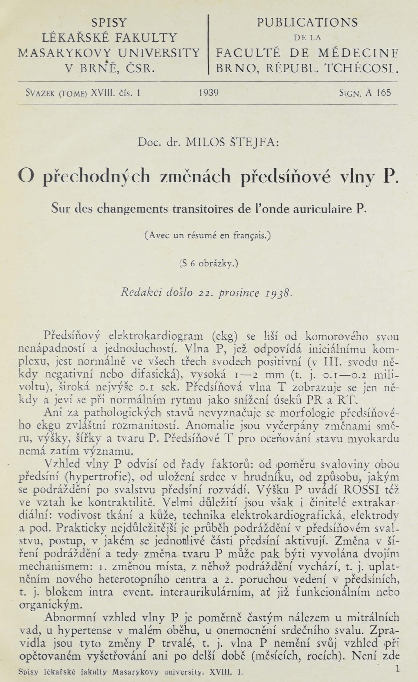 Obálka pro O přechodných změnách předsíňové vlny P. / Sur des changements transitoires de l' onde auriculaire P.