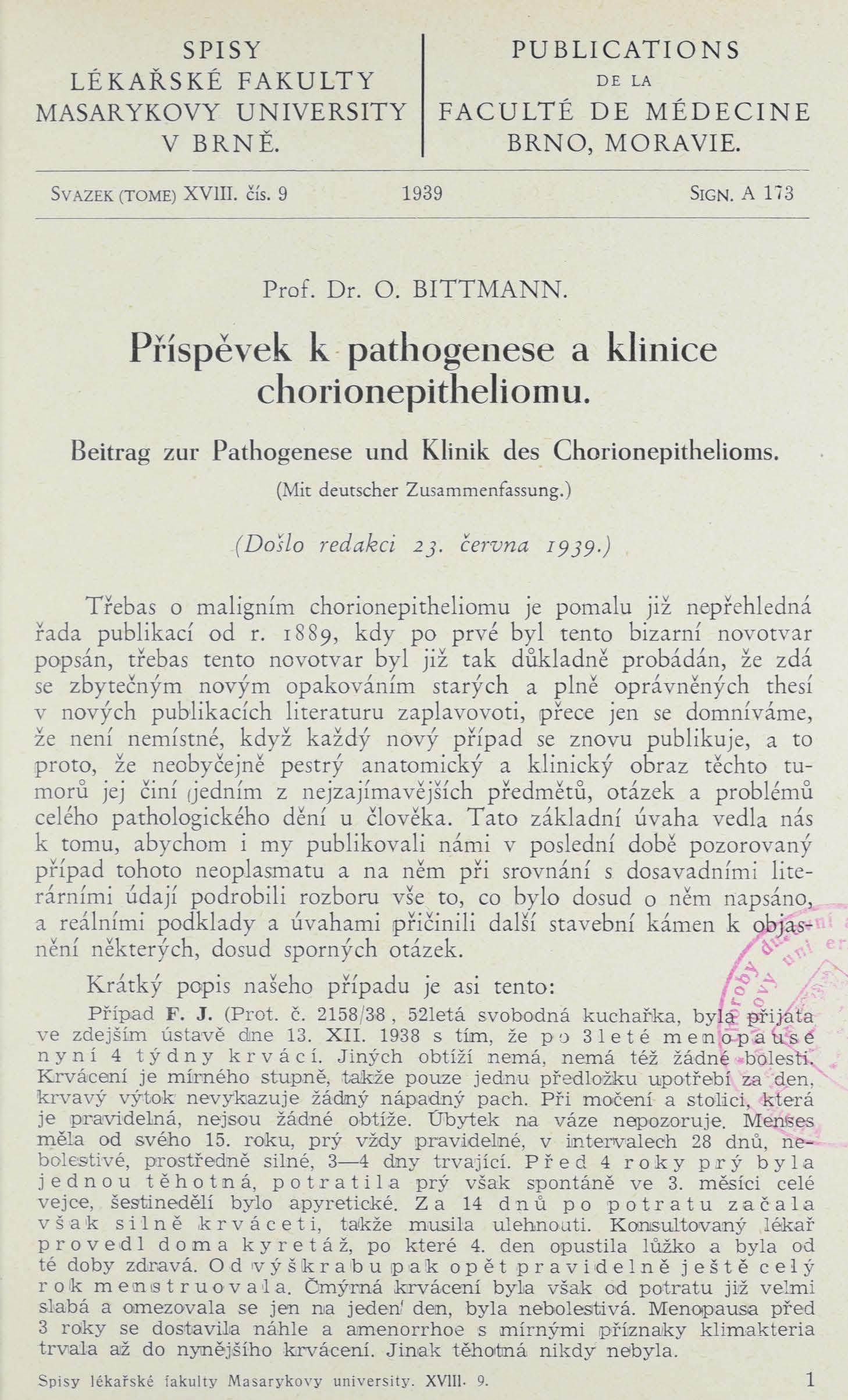 Obálka pro Příspěvek k pathogenese a klinice chorionepitheliomu / Beitrag zur Pathogenese und Klinik des Chorionephithelioms