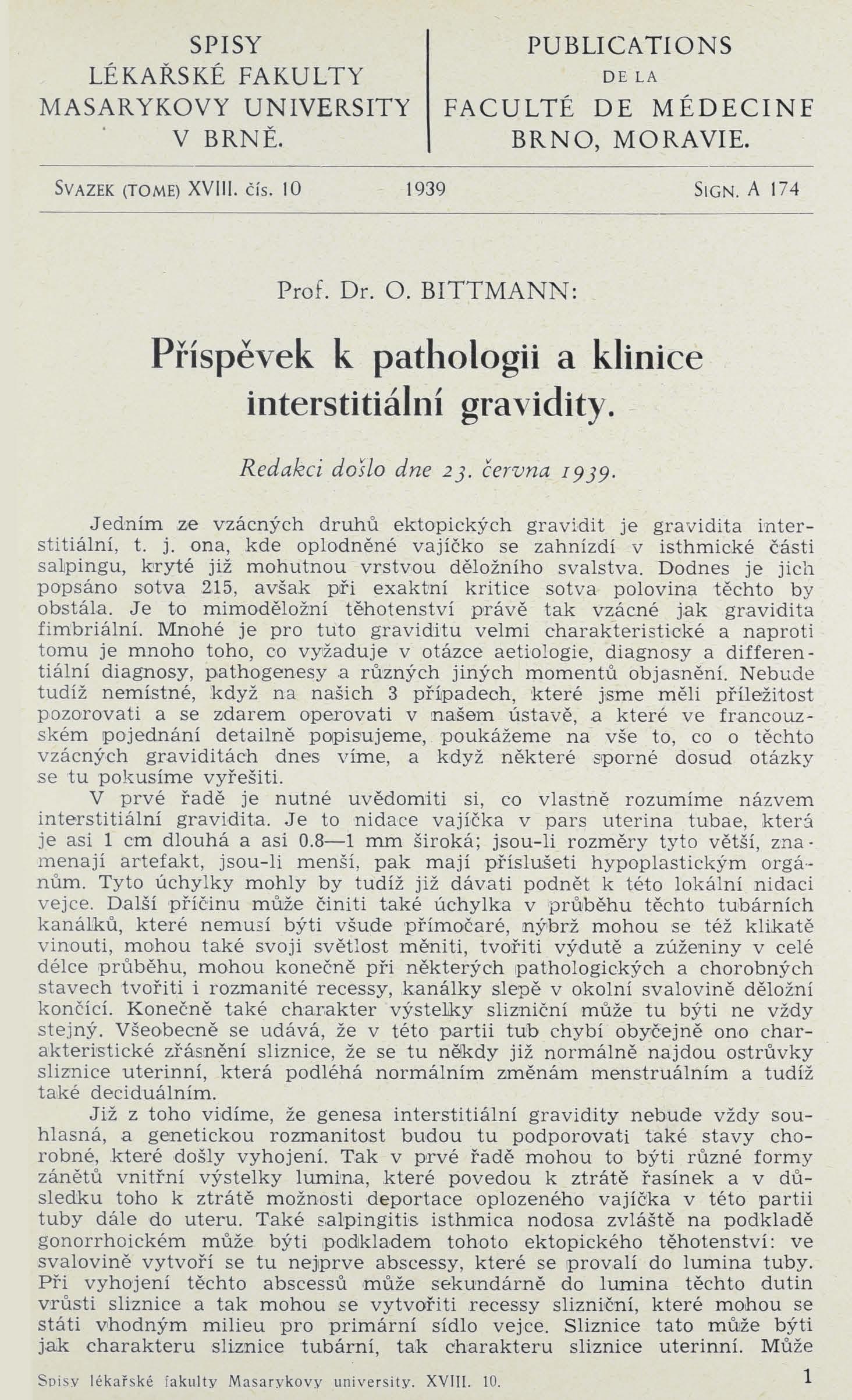Obálka pro Příspěvek k pathologii a klinice interstitiální gravidity / Sur la pathologie et la clinique du gravidité interstitielle