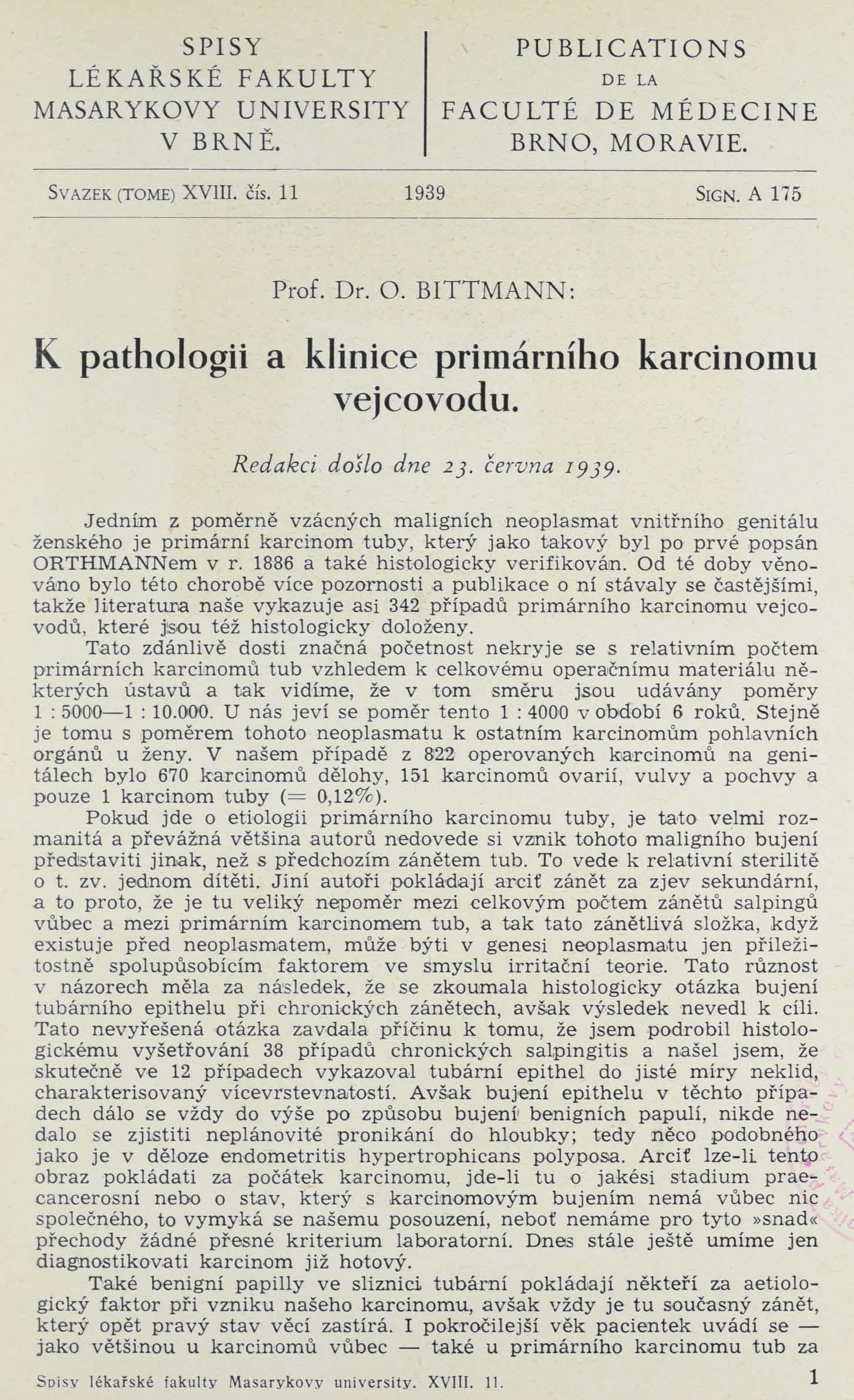 Obálka pro K pathologii a klinice primárního karcinomu vejcovodu / Sur la pathologie et la clinique du carcinome primaire de la trompe