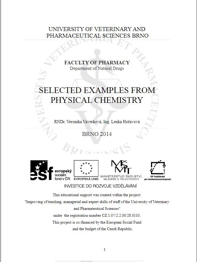 Obálka pro Selected examples from physical chemistry
