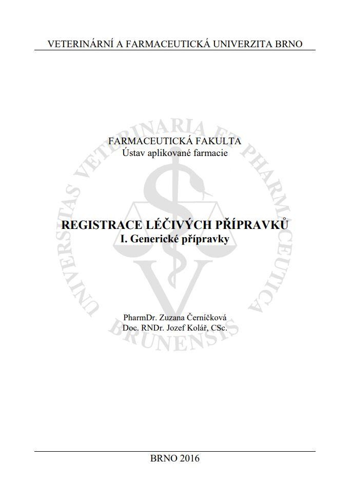 Obálka pro Registrace léčivých přípravků I.