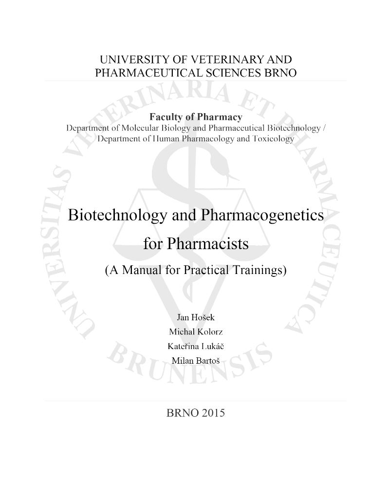 Obálka pro Biotechnology and pharmacogenetics for pharmacists