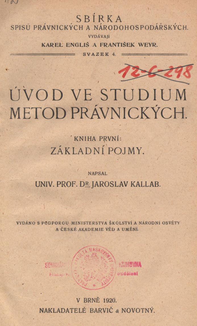 Obálka pro Úvod ve studium metod právnických. Kniha první, Základní pojmy