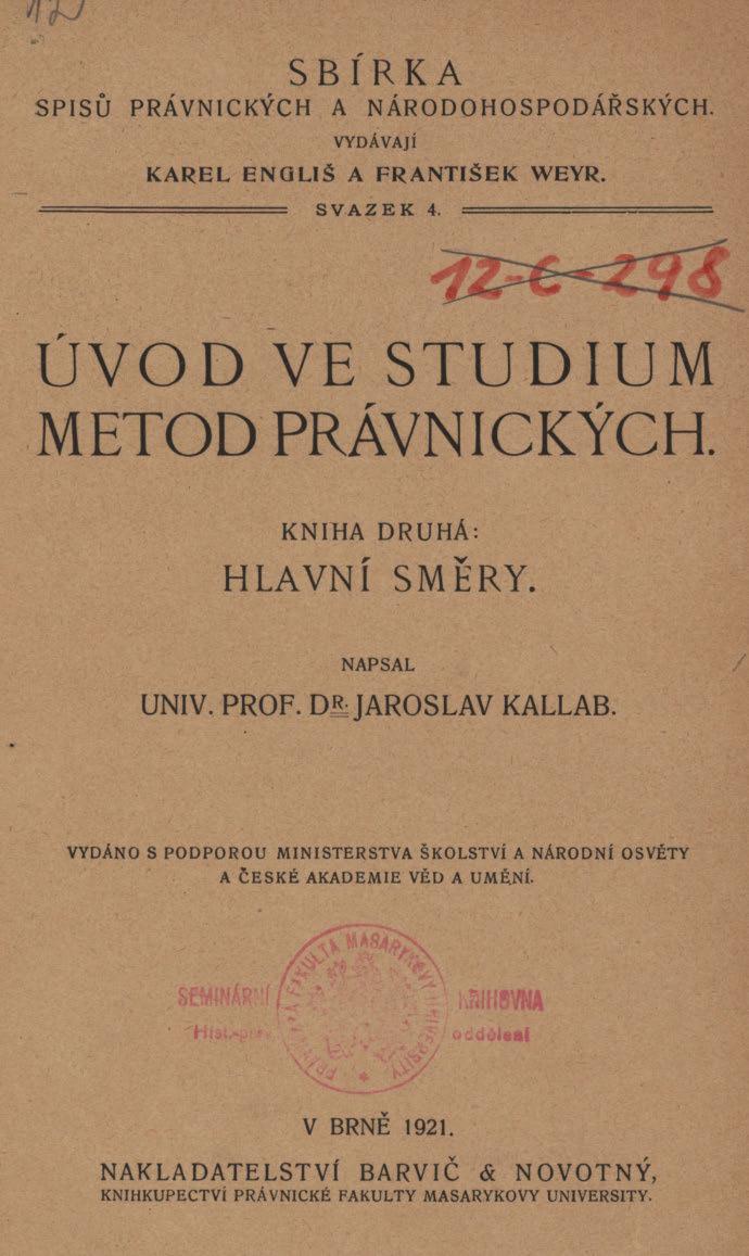 Obálka pro Úvod ve studium metod právnických. Kniha 2, Hlavní směry