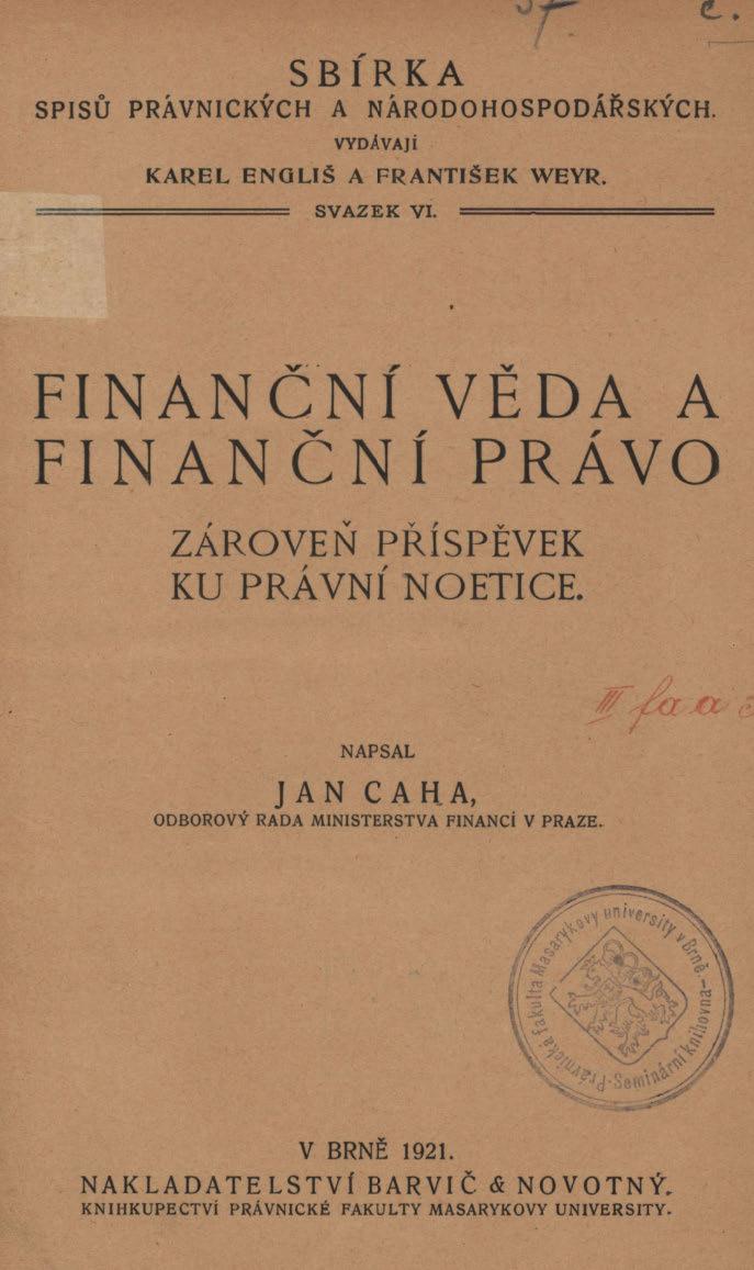 Obálka pro Finanční věda a finanční právo : zároveň příspěvek ku právní noetice