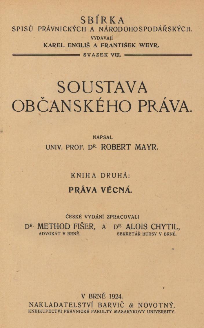 Obálka pro Soustava občanského práva. Kniha druhá, Práva věcná