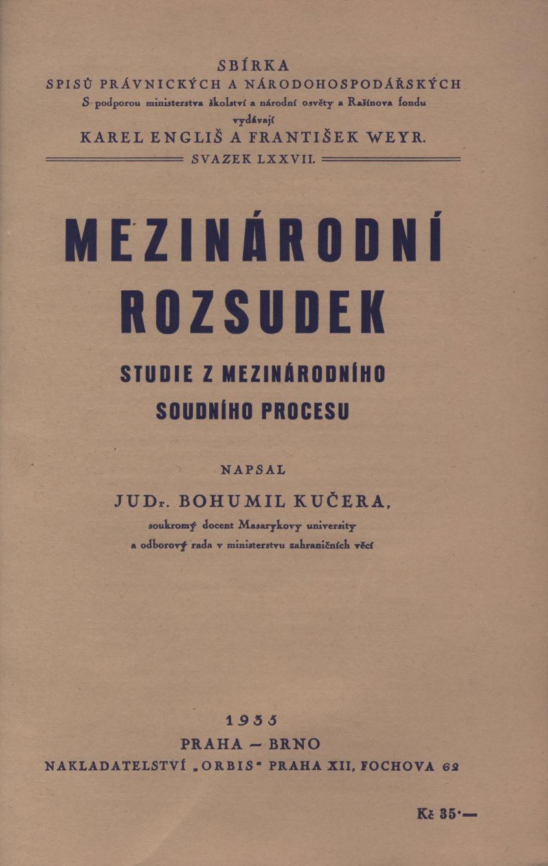 Obálka pro Mezinárodní rozsudek : studie z mezinárodního soudního procesu