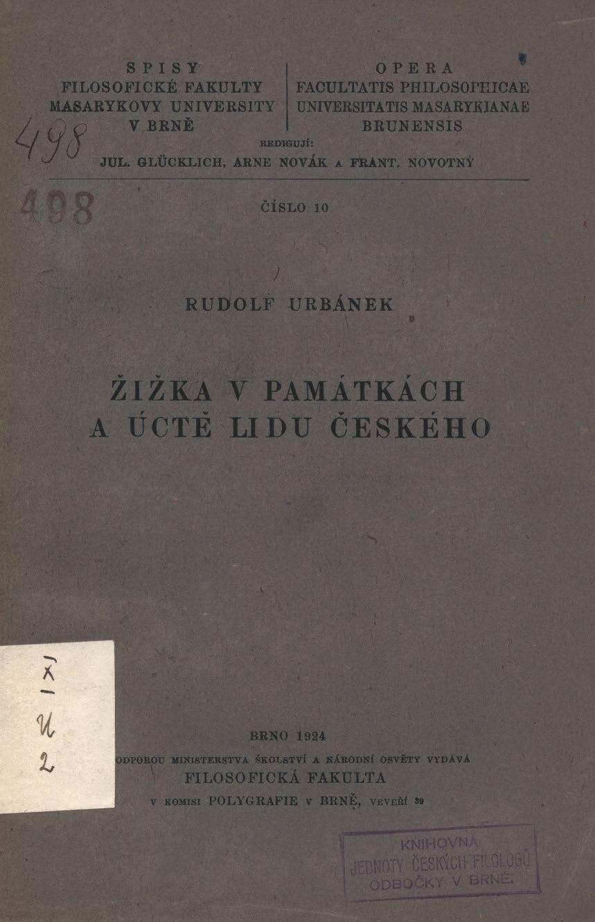 Obálka pro Žižka v památkách a úctě lidu českého