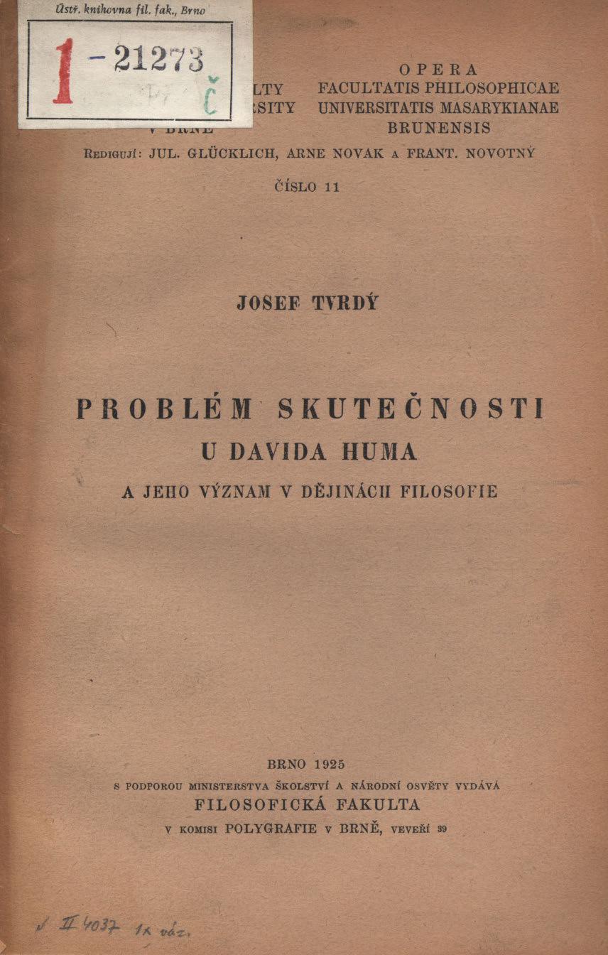 Obálka pro Problém skutečnosti u Davida Huma a jeho význam v dějinách filosofie