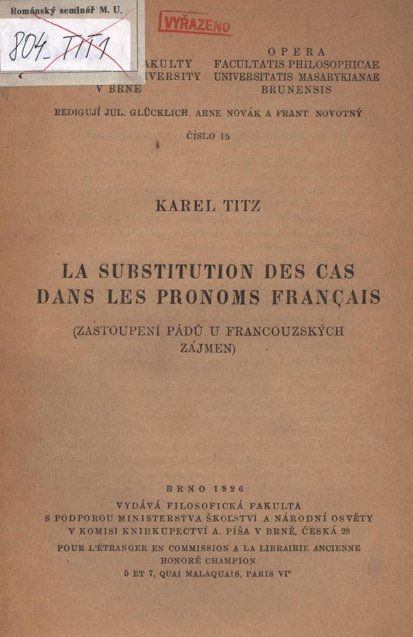 Obálka pro La substitution des cas dans les pronoms Français