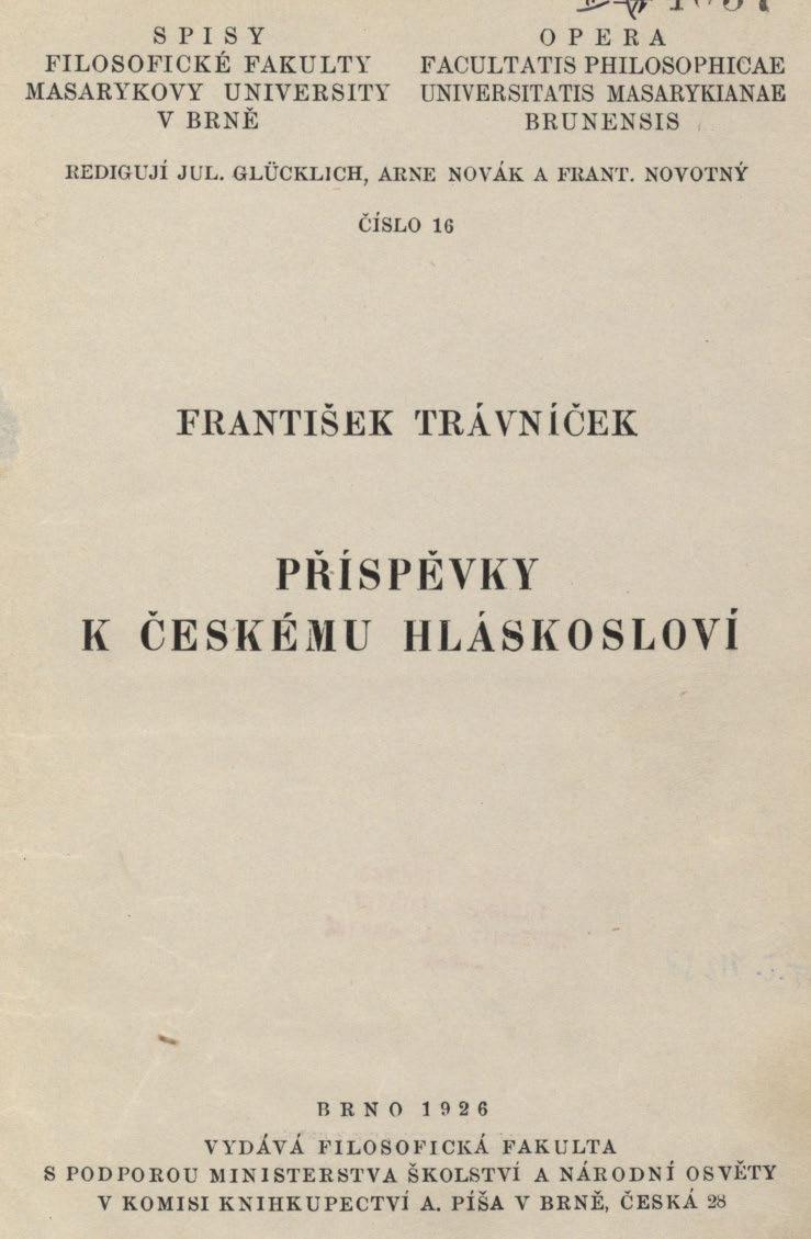 Obálka pro Příspěvky k českému hláskosloví