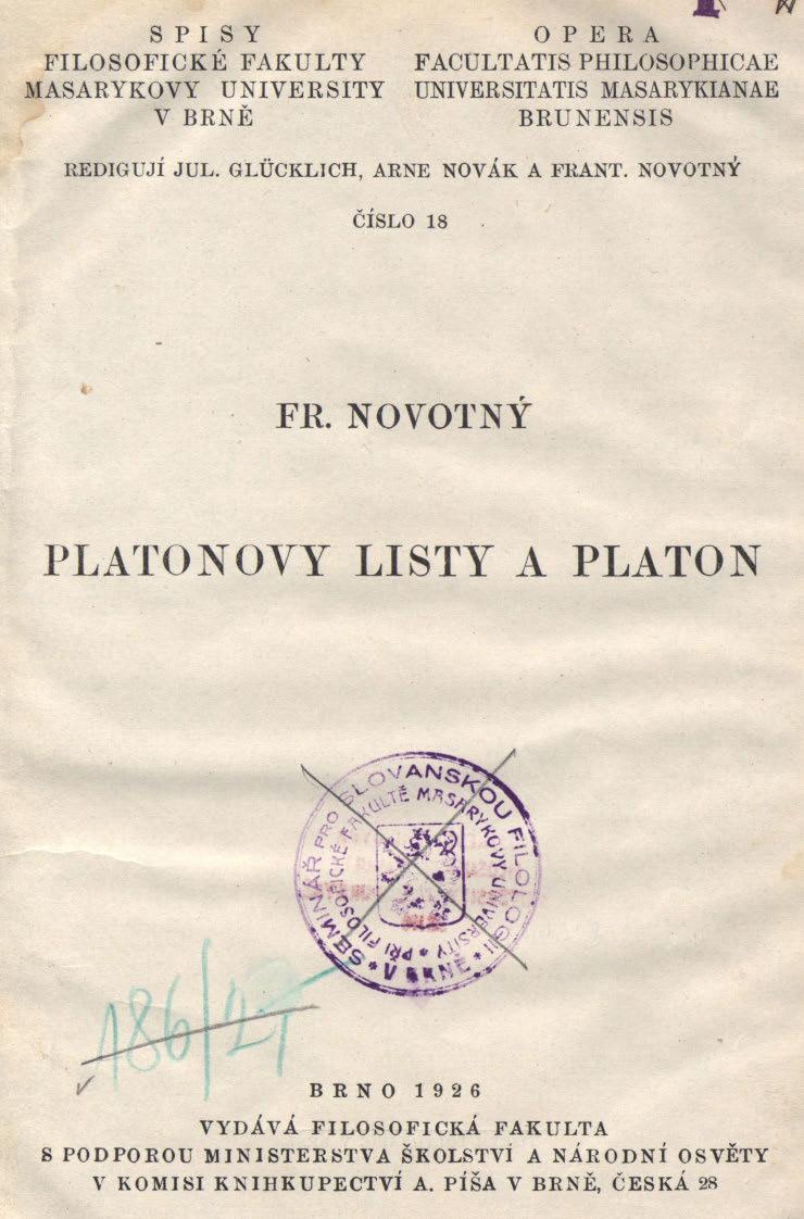 Obálka pro Platonovy listy a Platon
