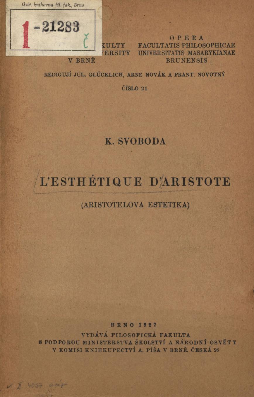 Obálka pro L'esthétique d'Aristote