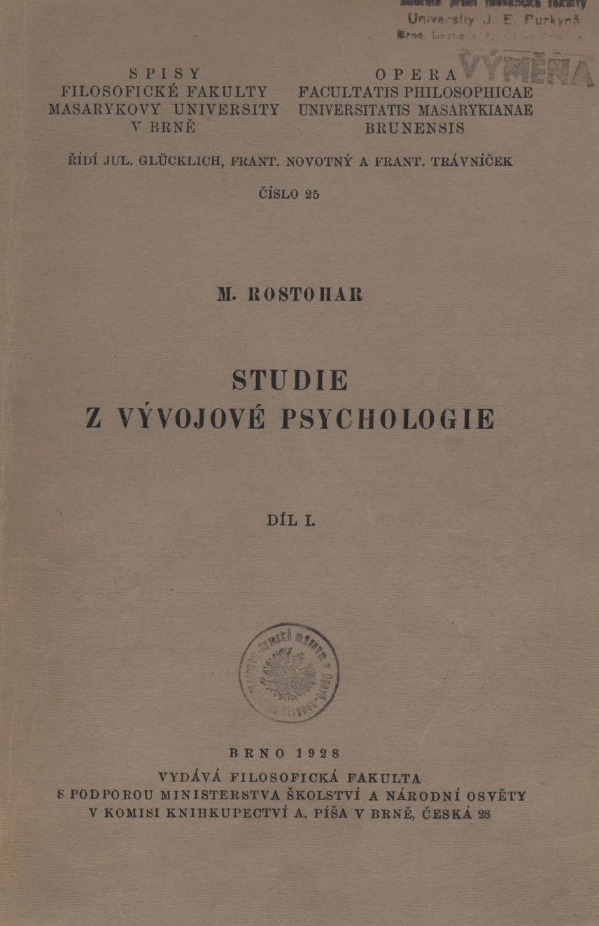 Obálka pro Studie z vývojové psychologie. Díl I.