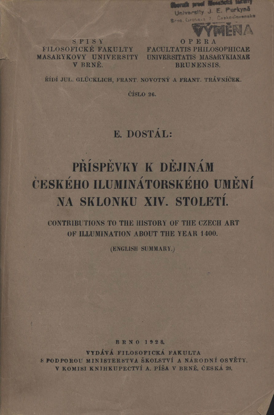Obálka pro Příspěvky k dějinám českého iluminátorského umění na sklonku XIV. století